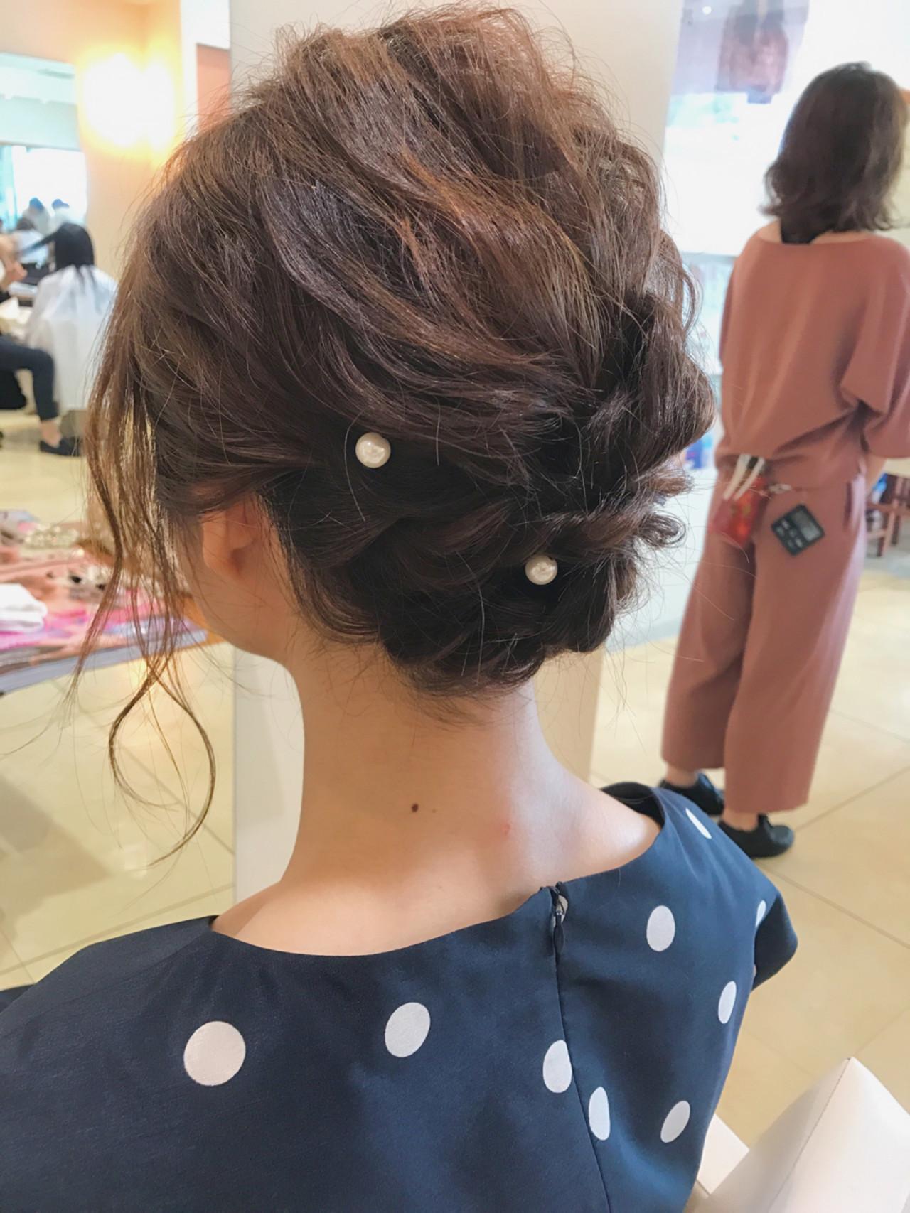 簡単ヘアアレンジ 結婚式 ショート ナチュラルヘアスタイルや髪型の写真・画像