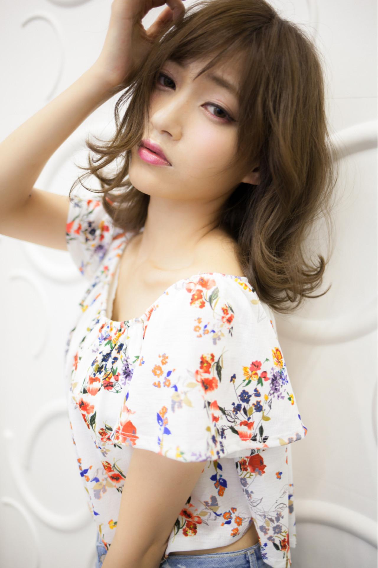 パーマ 大人かわいい ナチュラル ミディアム ヘアスタイルや髪型の写真・画像 | 高田 紘希 / Rr hair salon