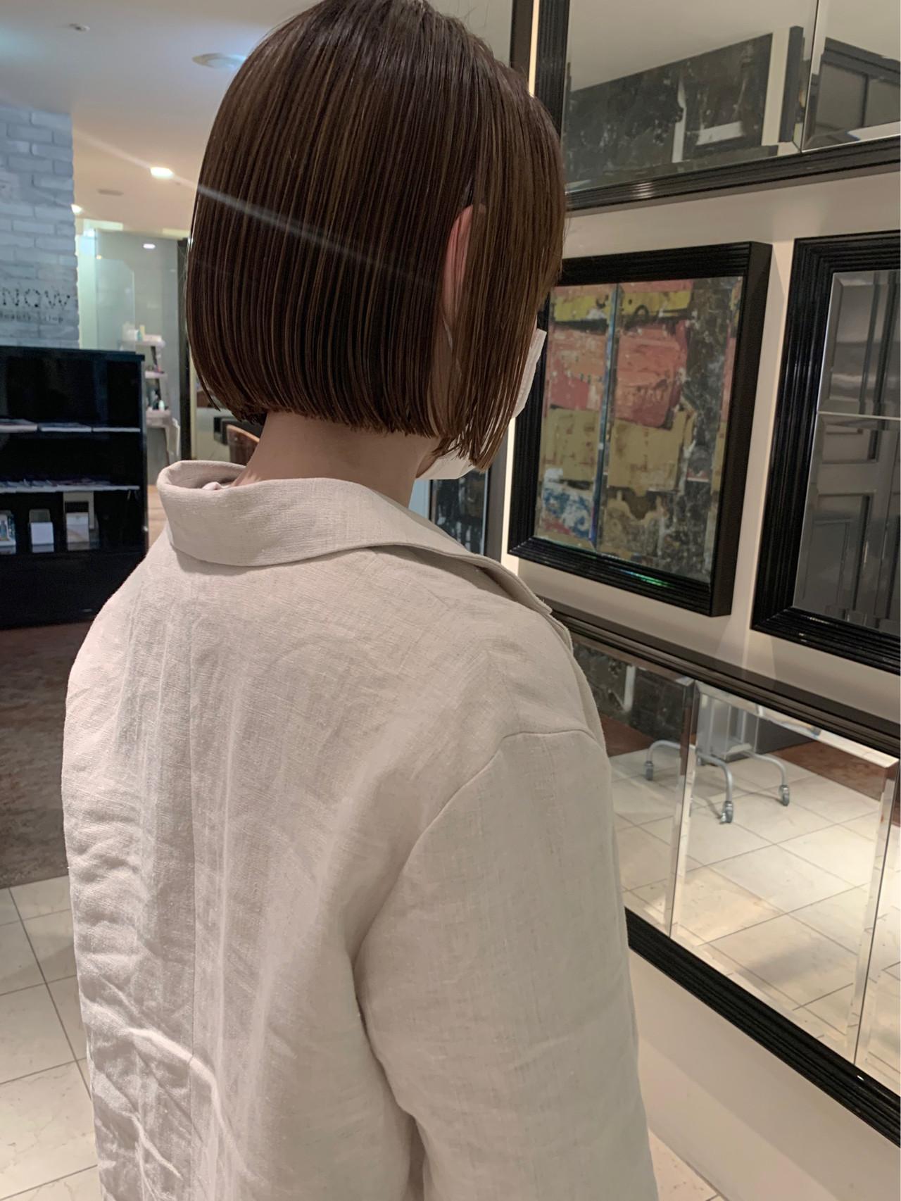 アンニュイほつれヘア 大人かわいい ナチュラル ミニボブ ヘアスタイルや髪型の写真・画像   yumiko/sapporoSKNOW / SKNOW