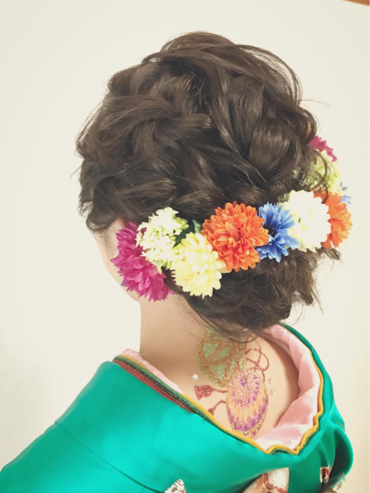 成人式 ヘアアレンジ 暗髪 アップスタイルヘアスタイルや髪型の写真・画像