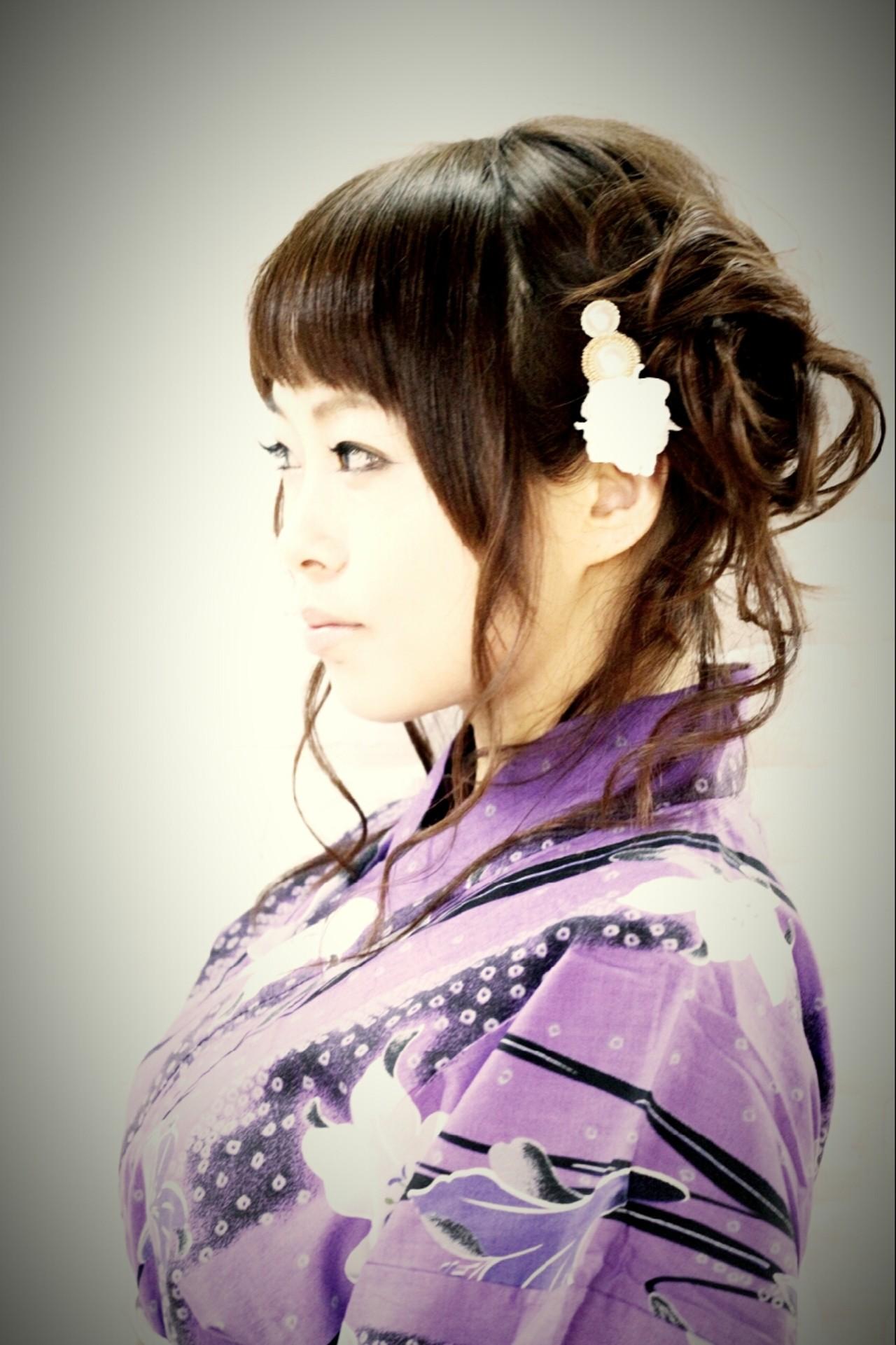 お祭り 和装 ヘアアレンジ 夏 ヘアスタイルや髪型の写真・画像   やす(やすこ) /