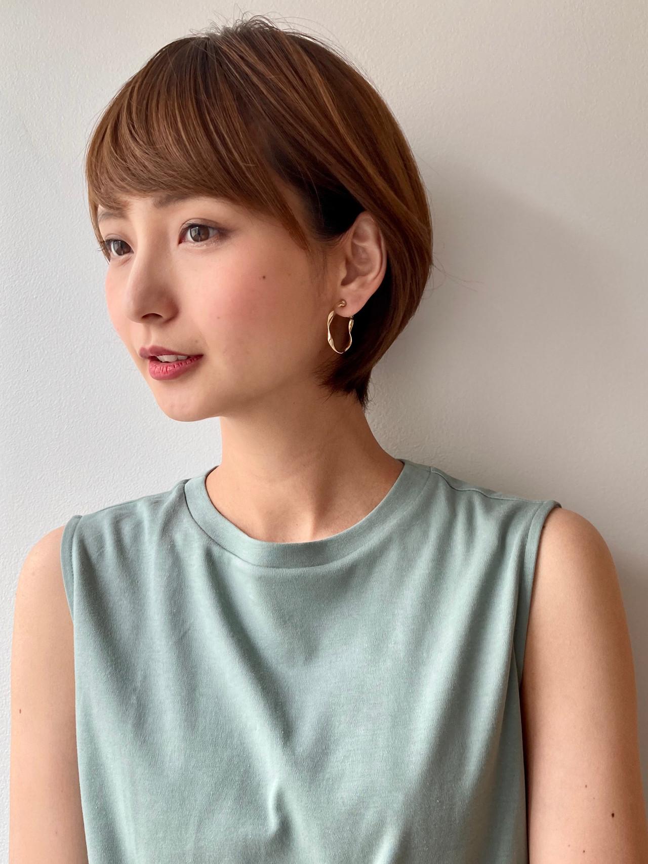 デジタルパーマ ショート ショートヘア 丸みショート ヘアスタイルや髪型の写真・画像