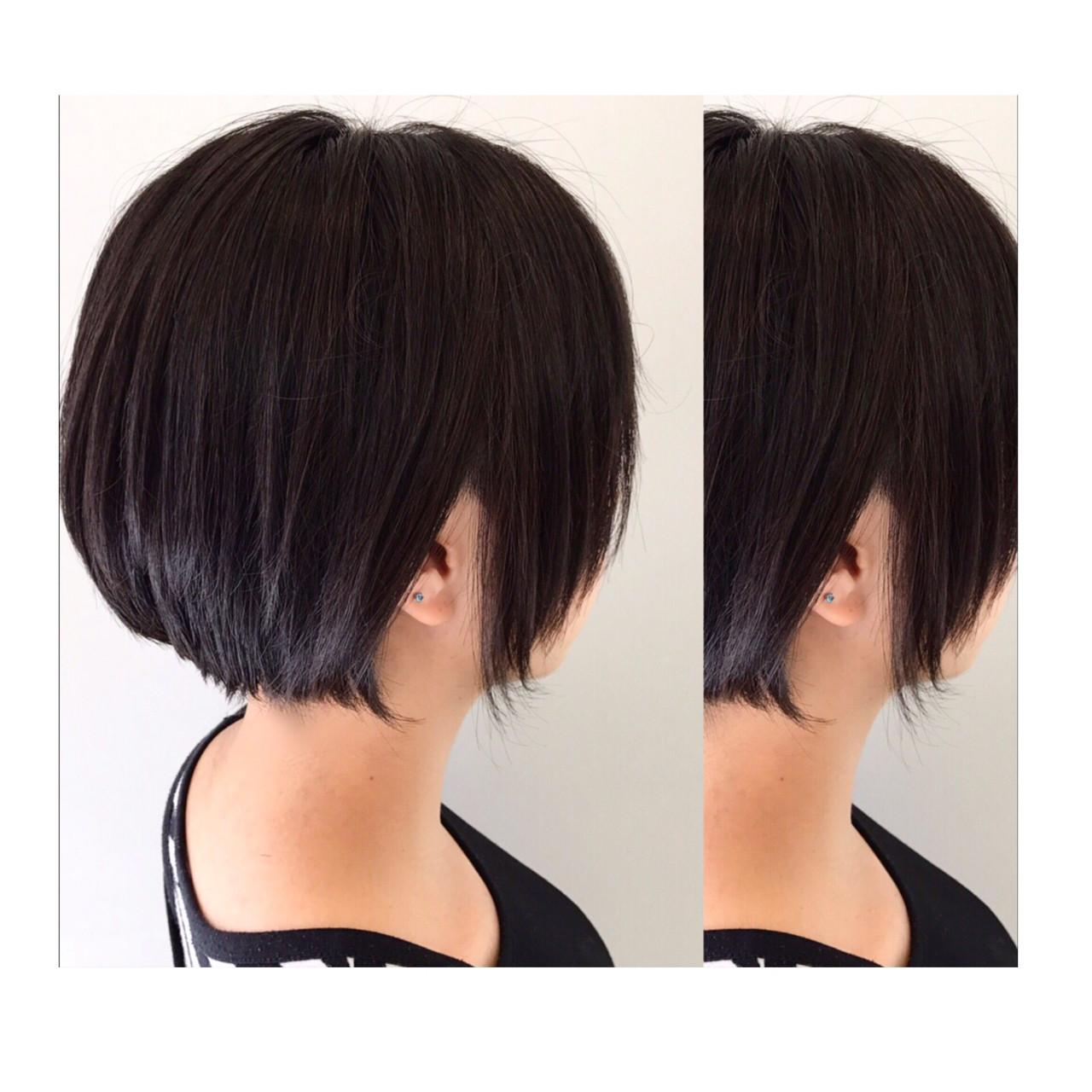 黒髪 大人女子 ショートボブ ボブヘアスタイルや髪型の写真・画像