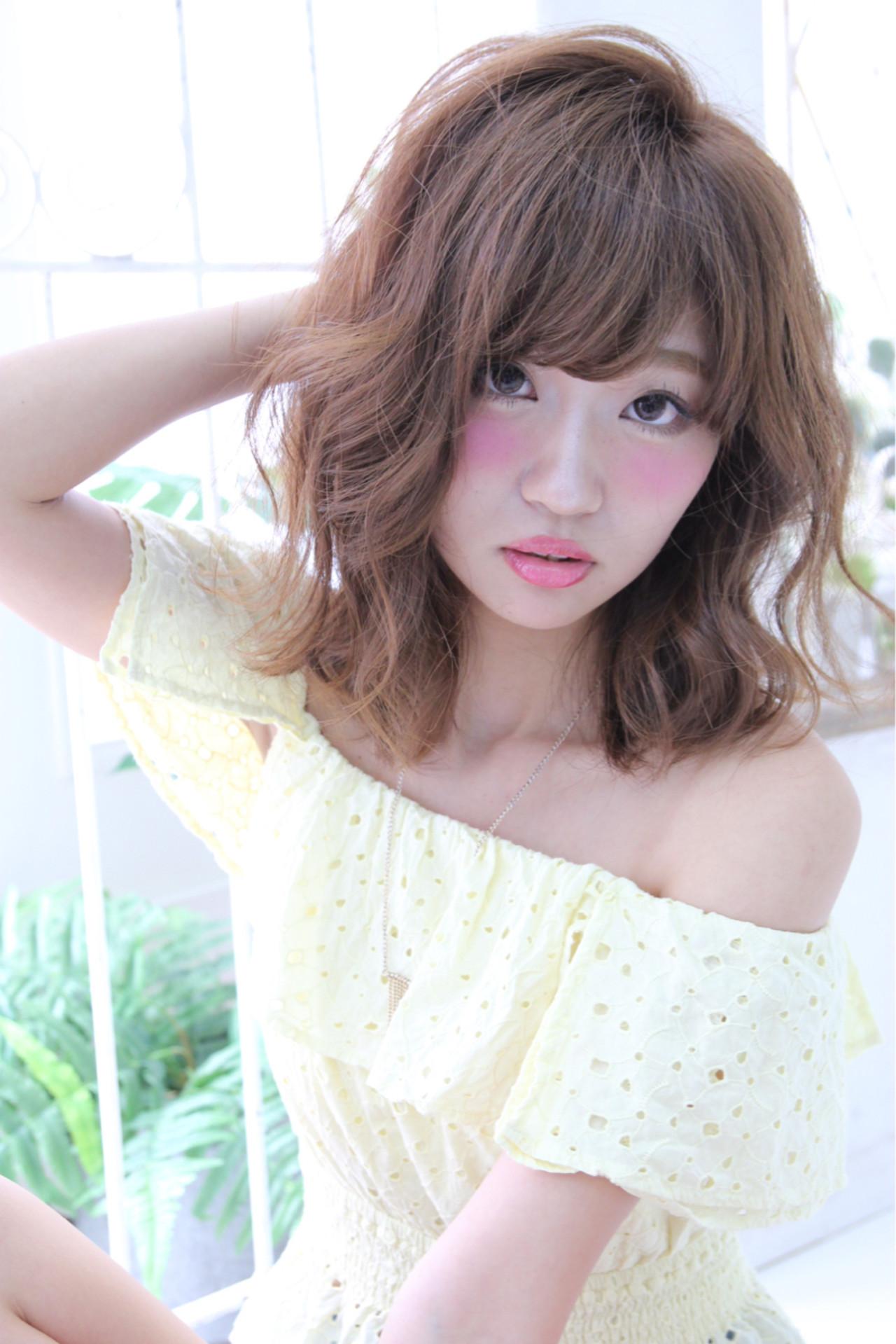 パーマ ミディアム ピュア 前髪あり ヘアスタイルや髪型の写真・画像 | 木村有佑 / felicita