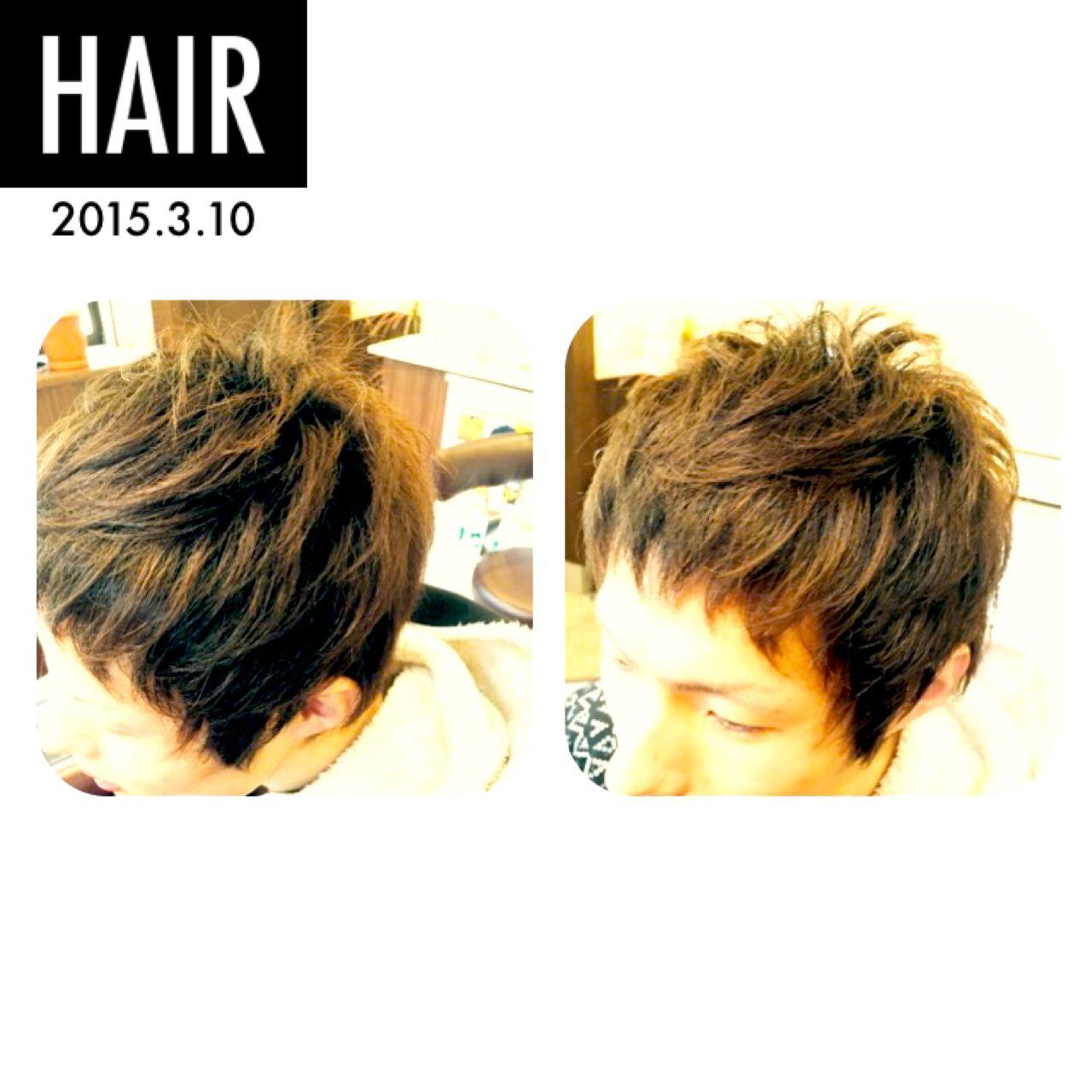 パーマ ボーイッシュ ショート メンズヘアスタイルや髪型の写真・画像