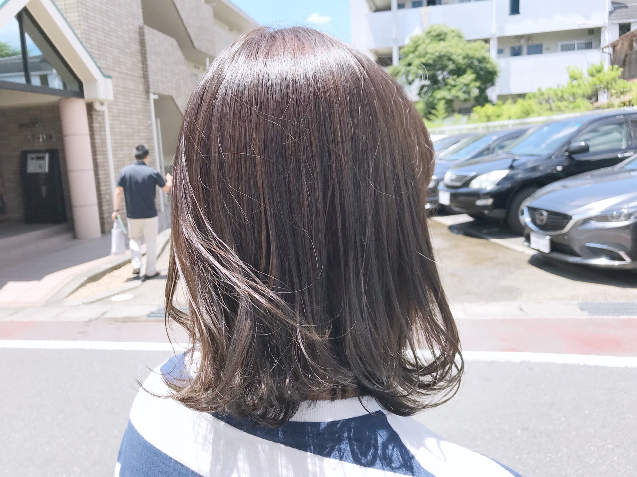 女子力 オリーブアッシュ 秋 ミディアムヘアスタイルや髪型の写真・画像