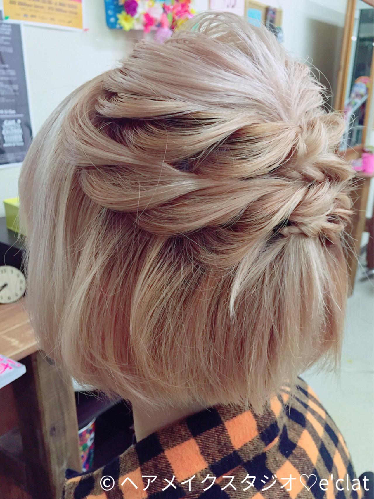 ヘアアレンジ ショート 結婚式 簡単ヘアアレンジヘアスタイルや髪型の写真・画像