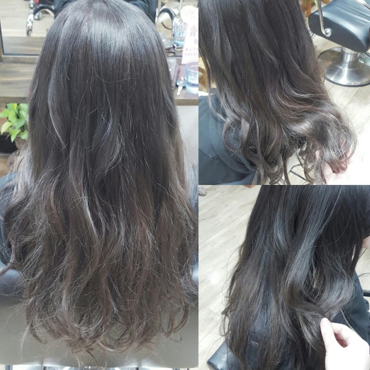 アッシュグレージュ ゆるふわ ストリート ロングヘアスタイルや髪型の写真・画像