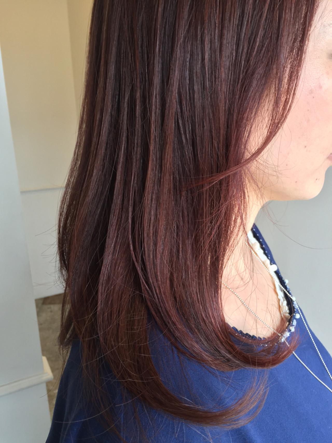 レッド ピンクアッシュ ラベンダーピンク セミロング ヘアスタイルや髪型の写真・画像 | 佐々田 広大 / Chord【コード】