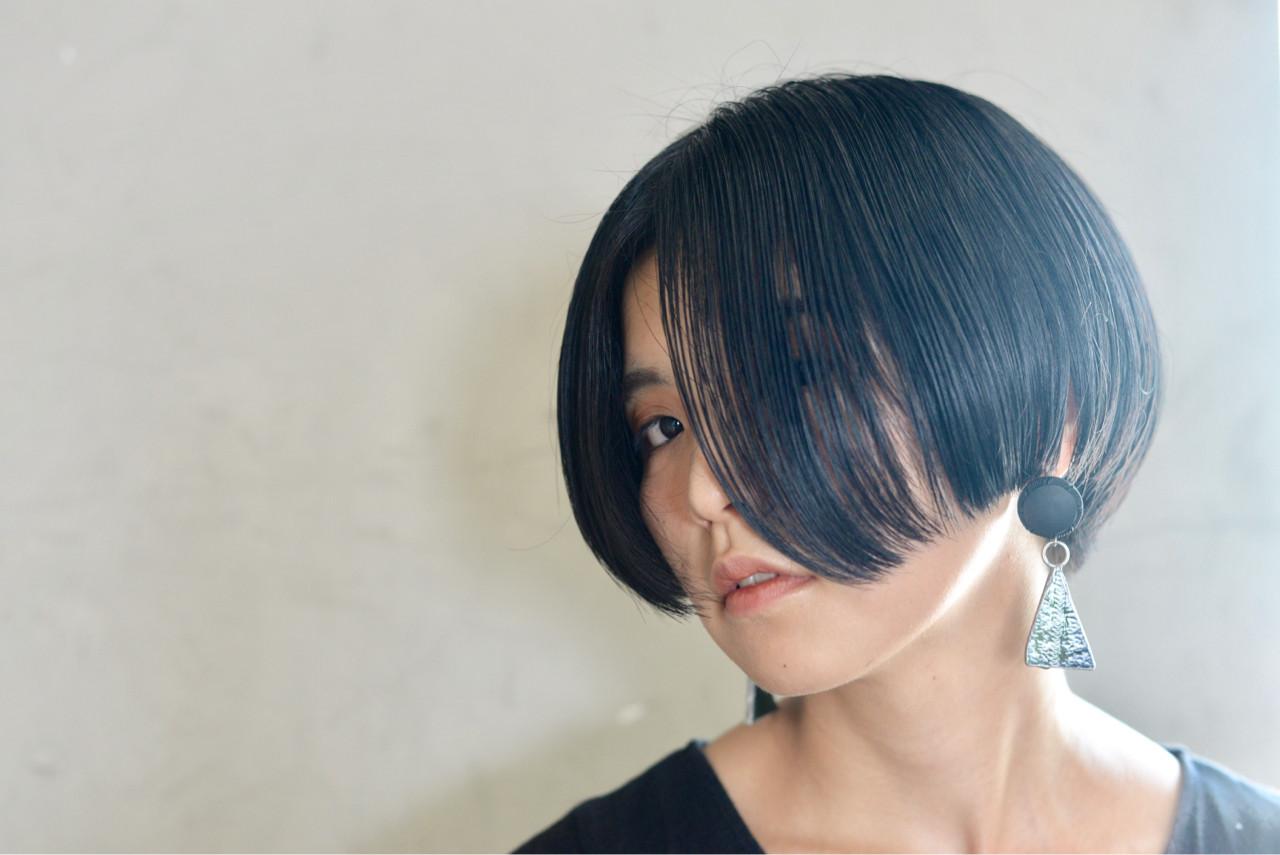 黒髪 切りっぱなし ショート ボブヘアスタイルや髪型の写真・画像