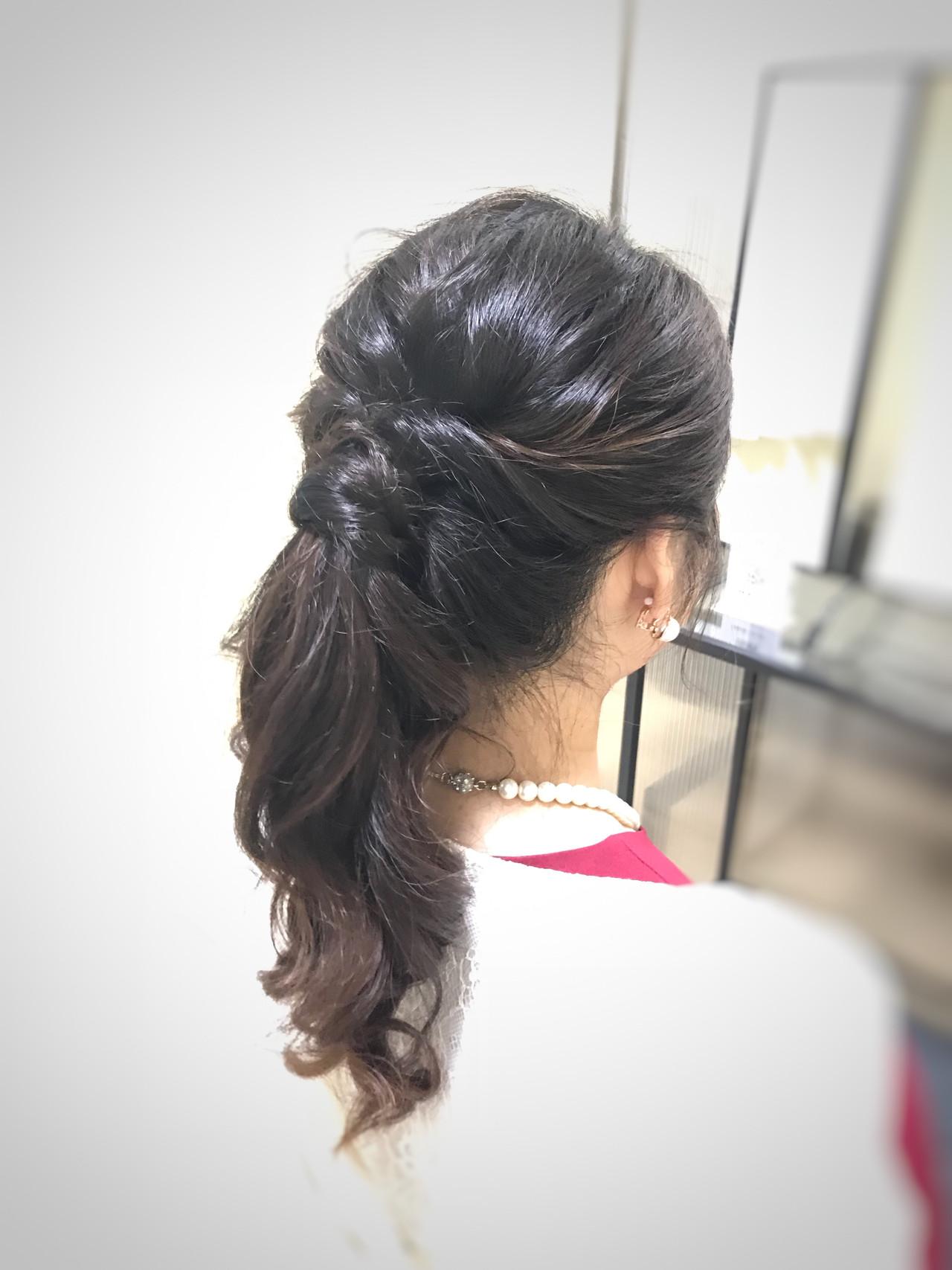 お呼ばれヘア 結婚式 ナチュラル ポニーテールヘアスタイルや髪型の写真・画像