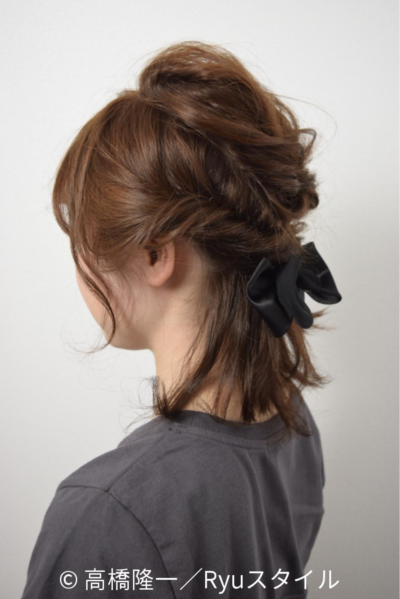 ショート ヘアアレンジ ストリート ブラウンヘアスタイルや髪型の写真・画像