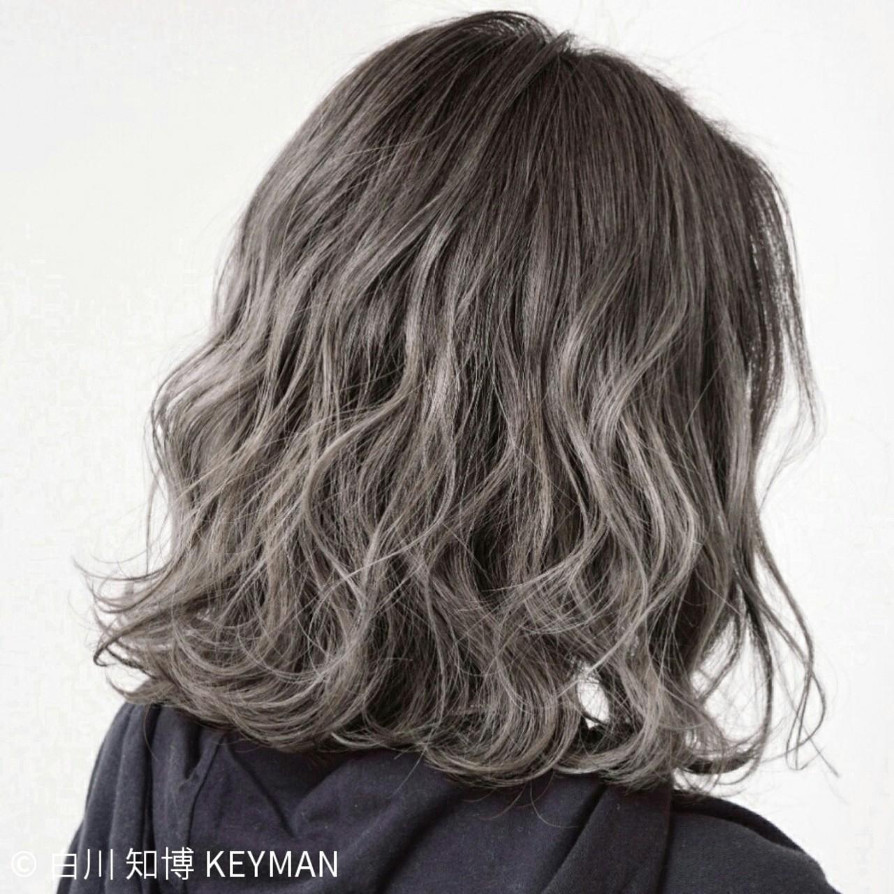 外国人風 ニュアンス パーマ ボブ ヘアスタイルや髪型の写真・画像   白川 知博 / KEYMAN