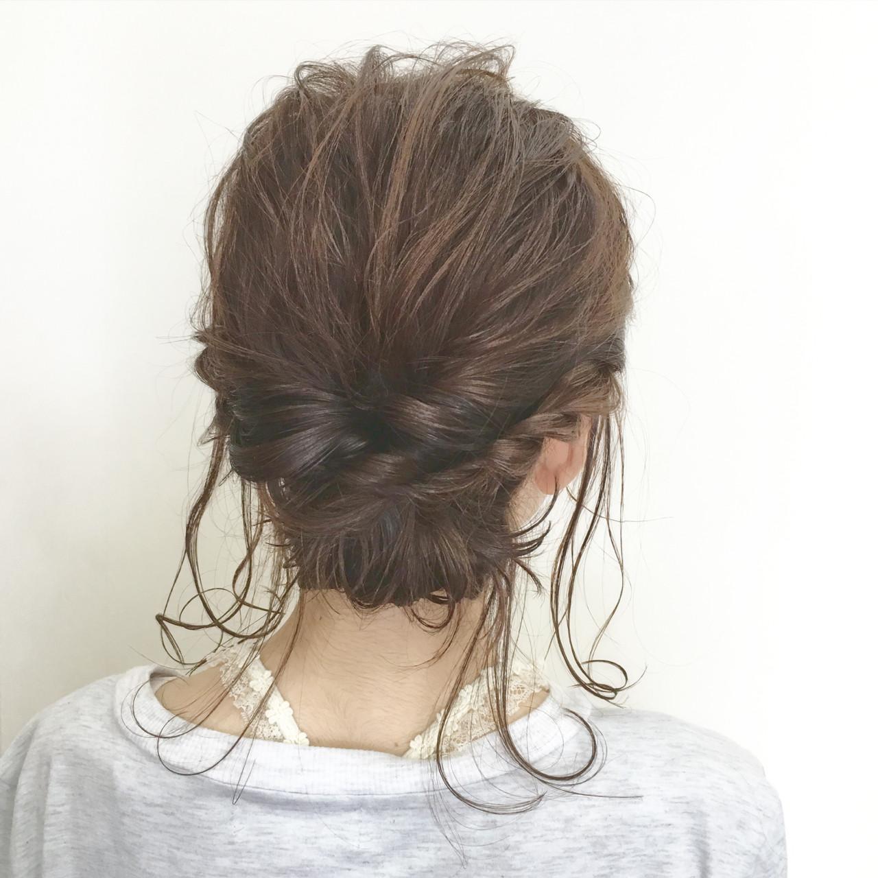 ミディアム パーマ フェミニン くるりんぱ ヘアスタイルや髪型の写真・画像 | 幸田寛生 / 美容室kamiya