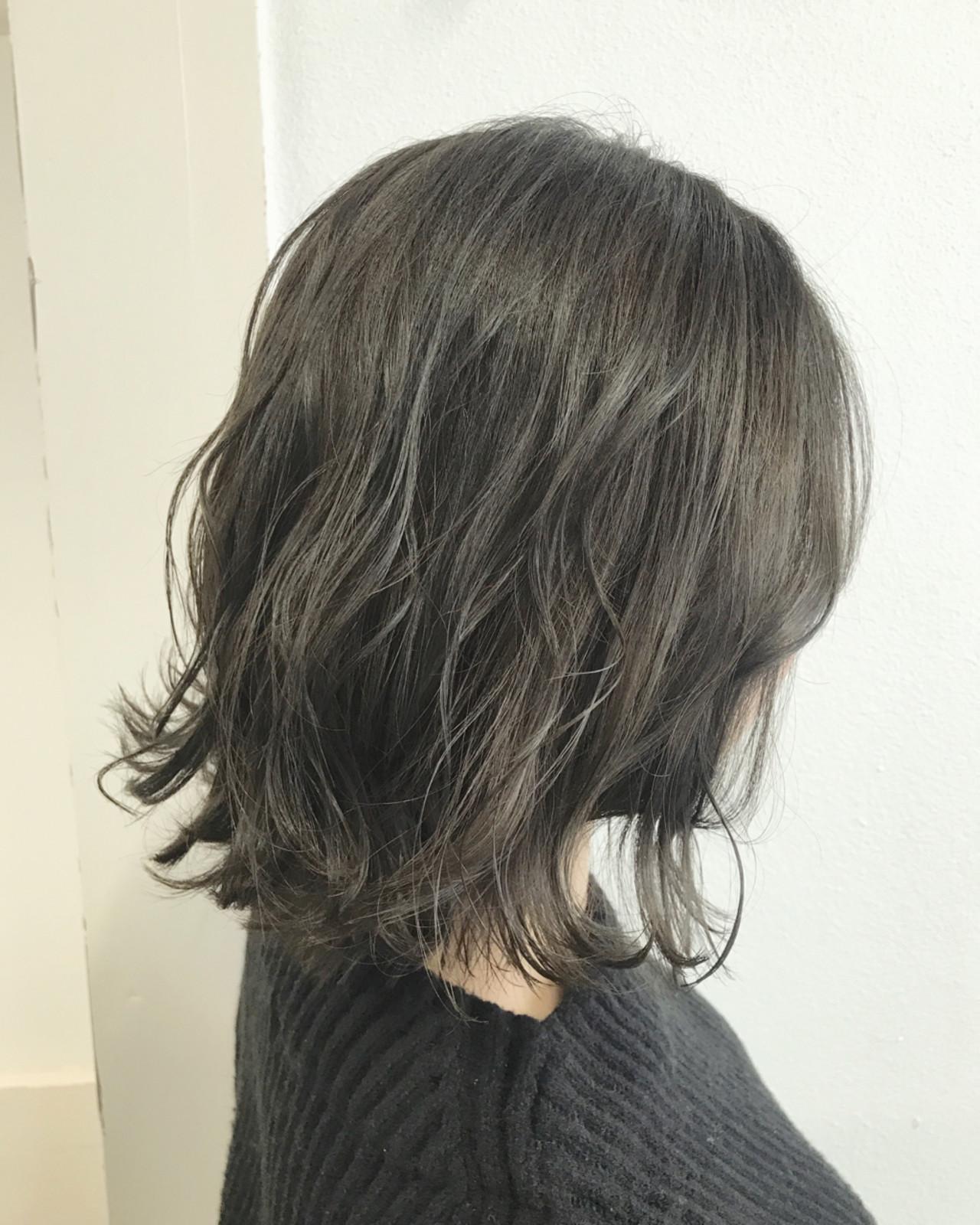 ボブ 透明感 オリーブアッシュ 外国人風カラーヘアスタイルや髪型の写真・画像
