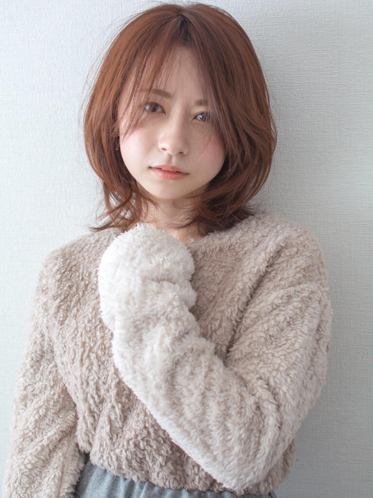 デート フェミニン ミディアム 大人かわいい ヘアスタイルや髪型の写真・画像 | 【noine】斉藤 正敏 / noine