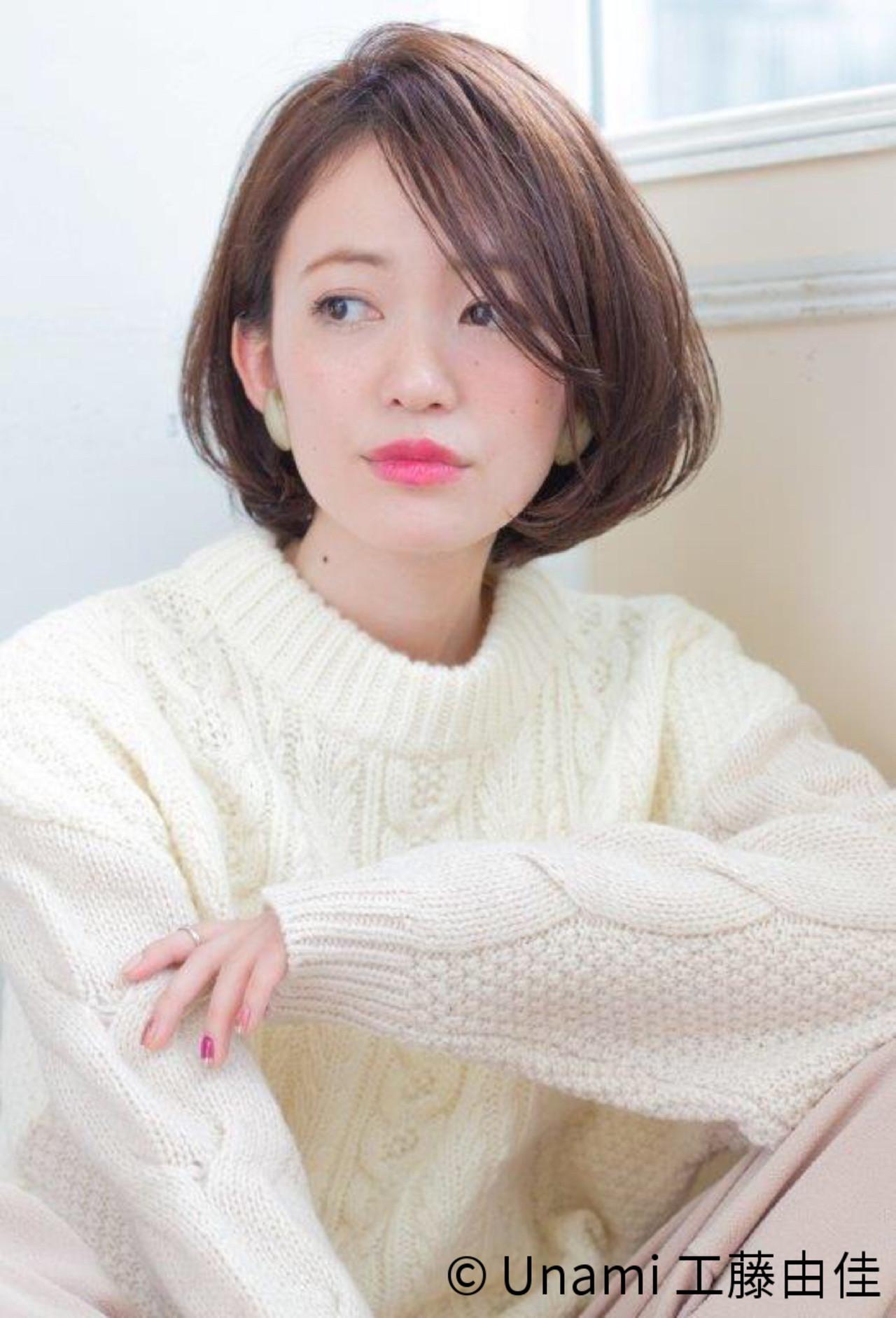 ボブ 小顔 大人女子 ナチュラル ヘアスタイルや髪型の写真・画像 | Unami 工藤由佳 / Unami omotesando