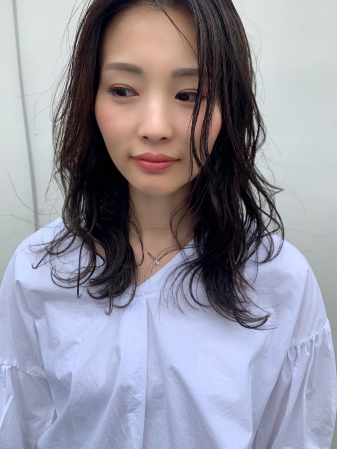 黒髪 デート ヘアアレンジ ミディアム ヘアスタイルや髪型の写真・画像 | 戸井田真幸 / cercle