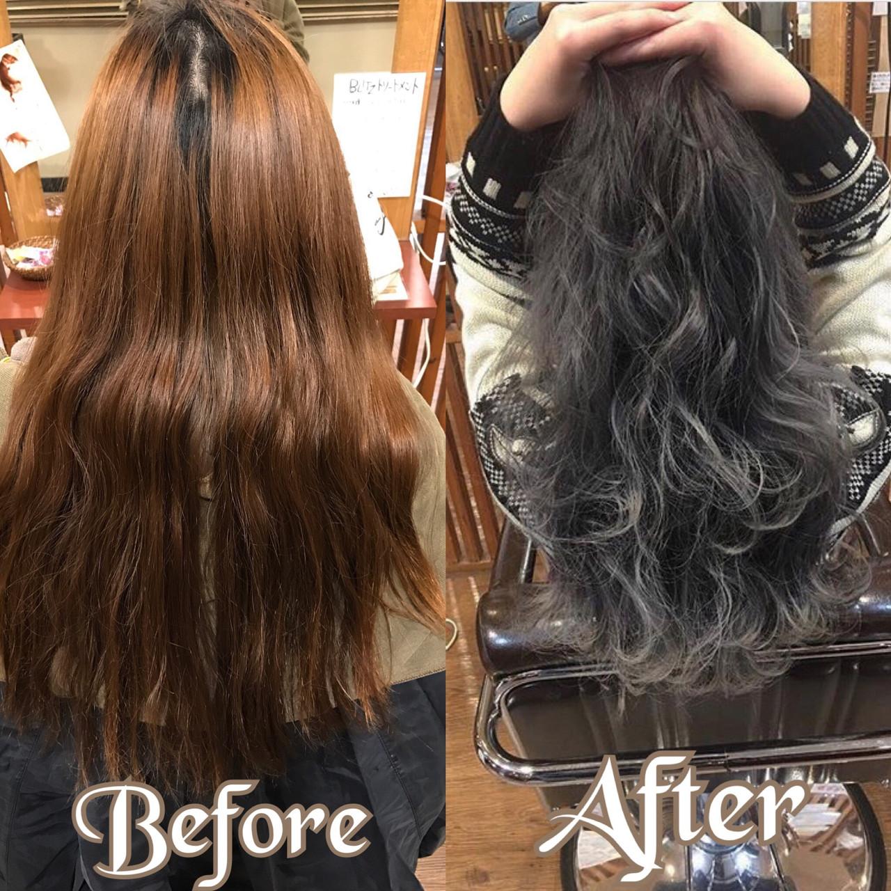 ロング 上品 グレージュ ハイライトヘアスタイルや髪型の写真・画像