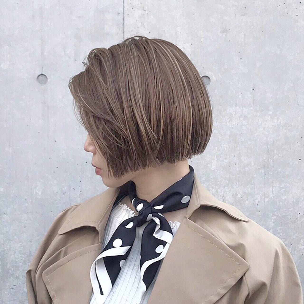 ショートボブ ボブ オフィス ミニボブヘアスタイルや髪型の写真・画像