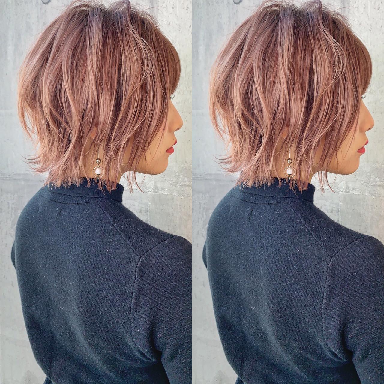 ヘアカラー ピンクアッシュ 切りっぱなしボブ ボブ ヘアスタイルや髪型の写真・画像 | 川原拓也 / GIEN ROUGE