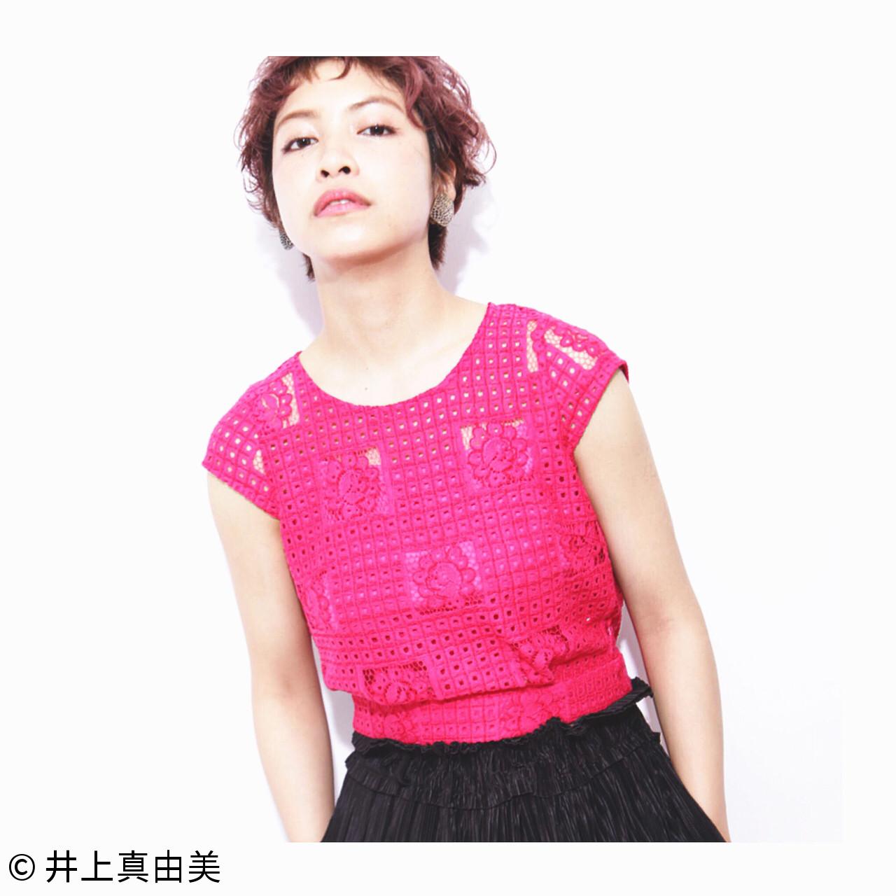 パーマ モード ピンク くせ毛風 ヘアスタイルや髪型の写真・画像 | 井上真由美 / RADnoel