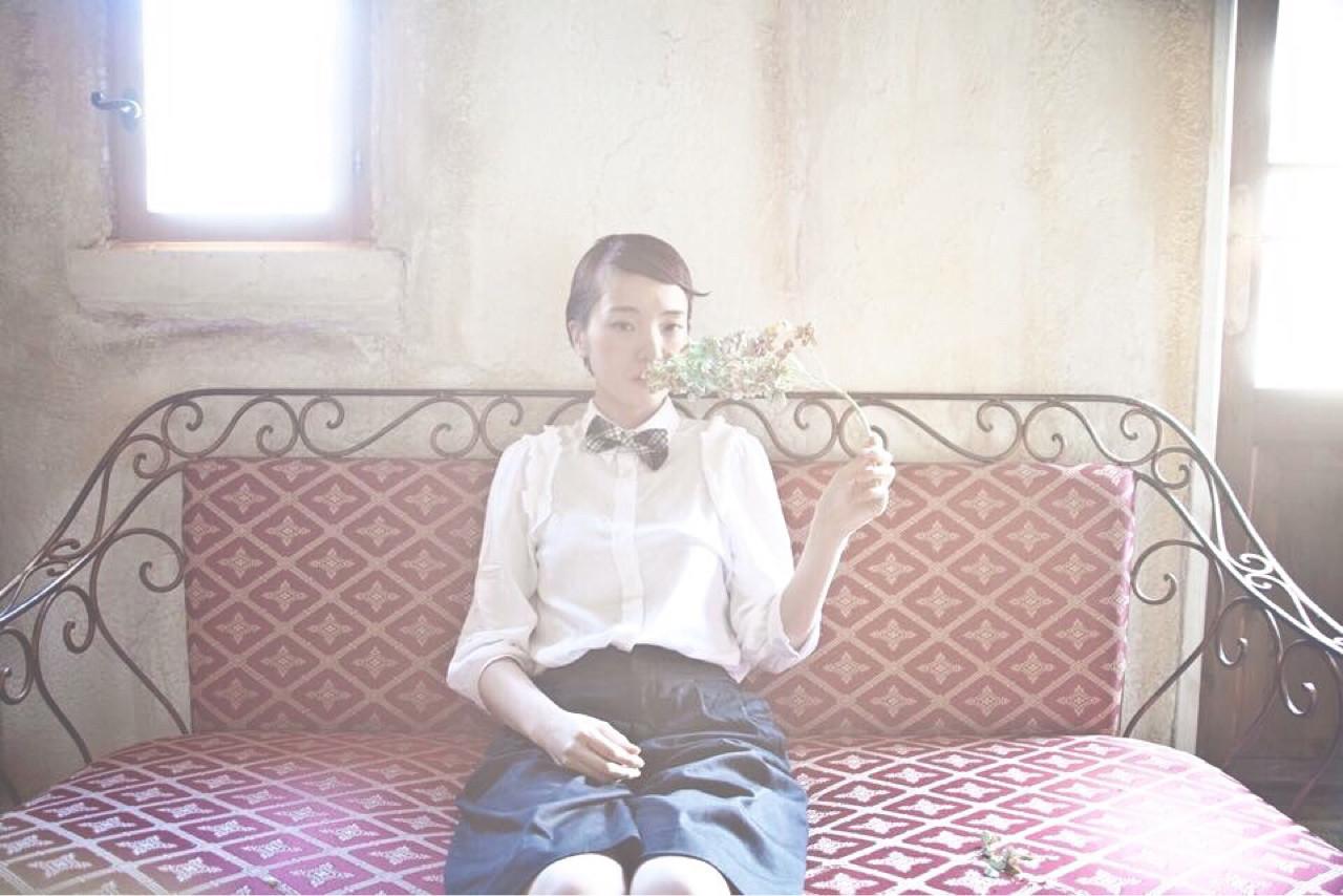 外国人風 ショート 大人かわいい 前髪あり ヘアスタイルや髪型の写真・画像 | 清水桃子 / ミルクブッシュ / ミルクブッシュ