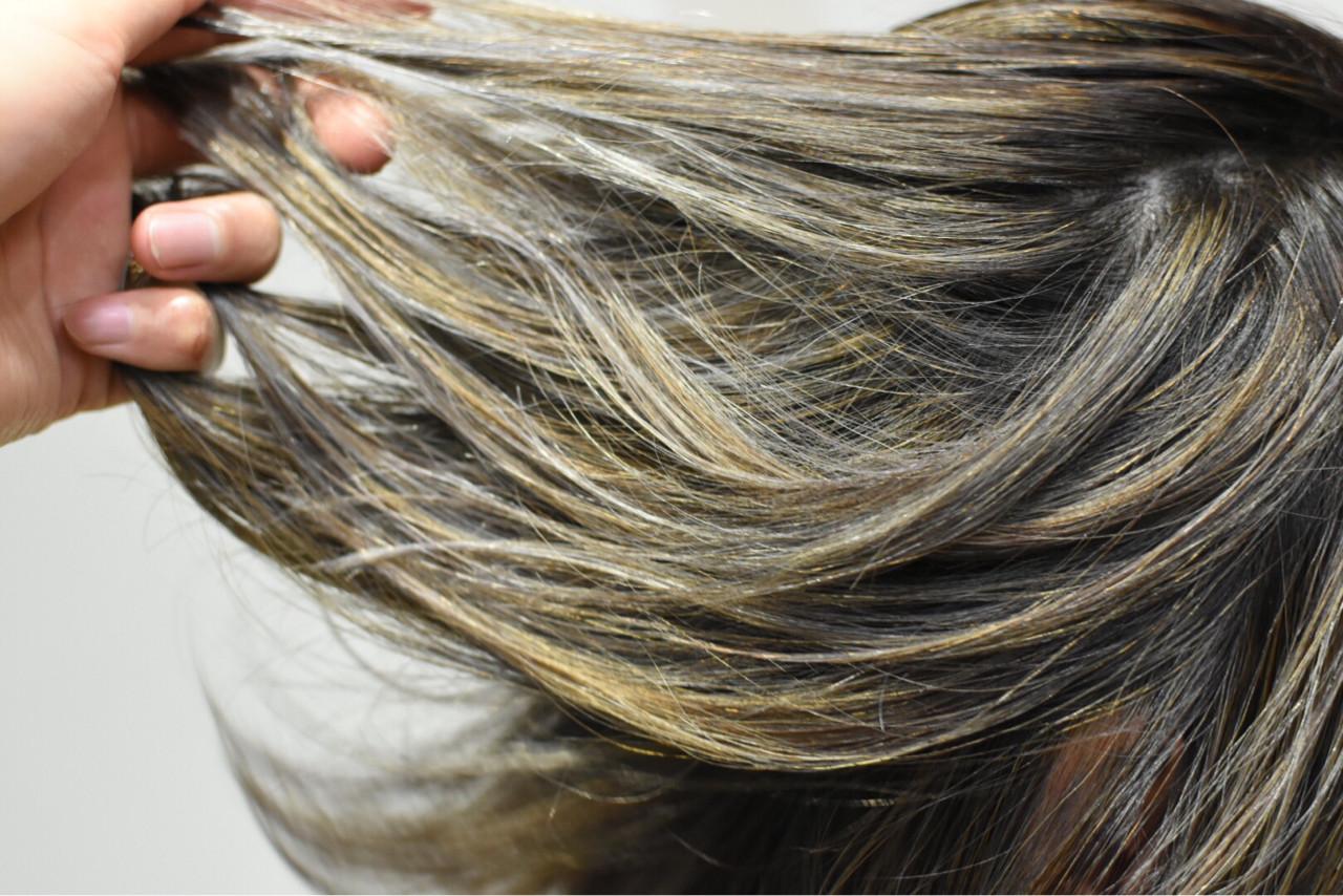 秋 グレージュ ハイライト ボブヘアスタイルや髪型の写真・画像