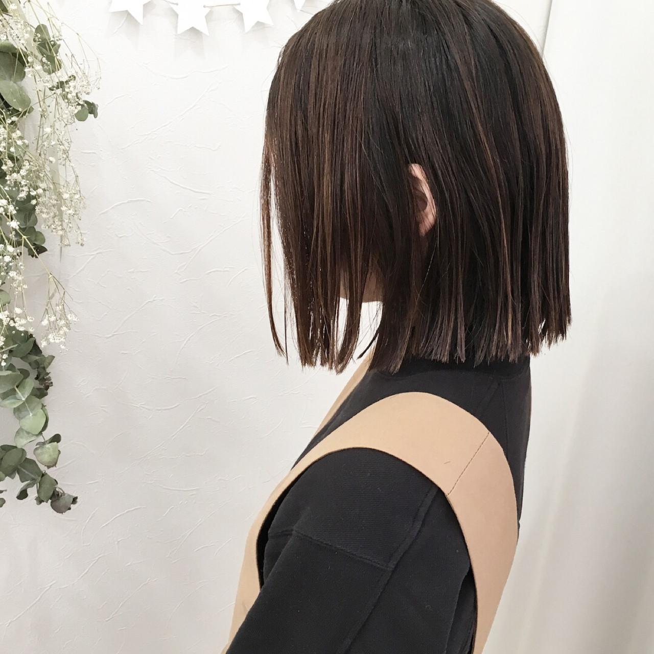 パーマ ストレート ロブ ハイライト ヘアスタイルや髪型の写真・画像 | 原田あゆみ / coquille/コキーユ