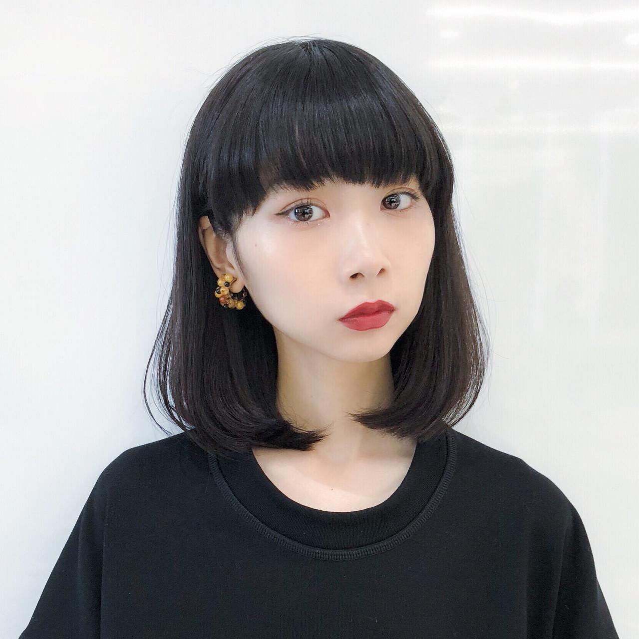 オフィス デート ミディアム パーマ ヘアスタイルや髪型の写真・画像 | 趙 英来 (よん) / nex