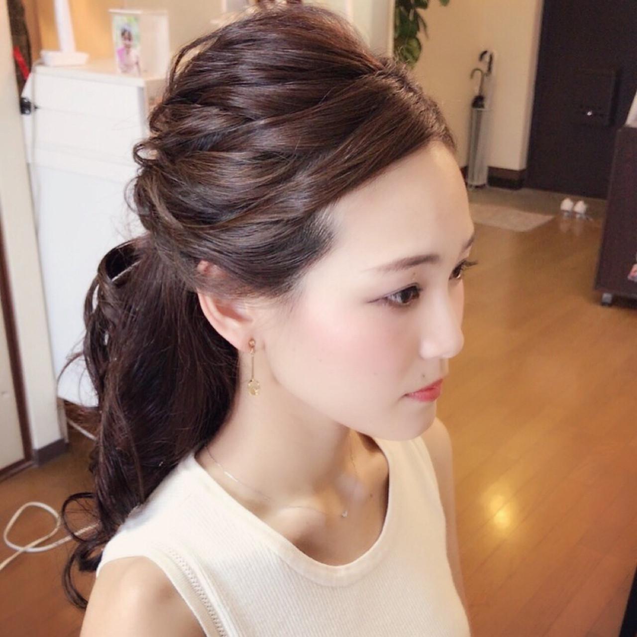 色気 エレガント セミロング 上品 ヘアスタイルや髪型の写真・画像 | Moriyama Mami / 福岡天神ヘアセット・着付け専門店【Three-keys】