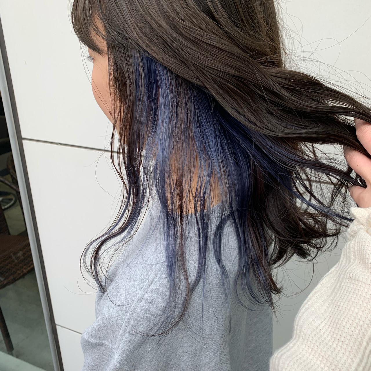 ダブルカラー インナーブルー ハイトーン インナーカラーヘアスタイルや髪型の写真・画像