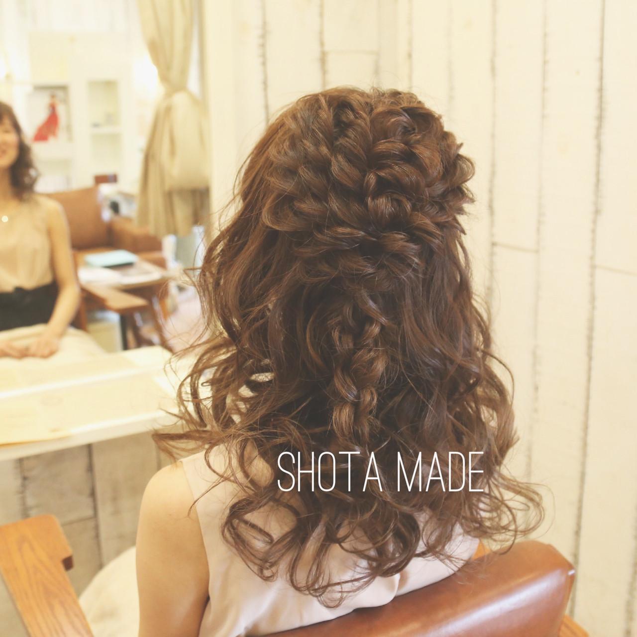 ガーリー ハーフアップ 編み込み 結婚式 ヘアスタイルや髪型の写真・画像 | 石川祥太 / PORTEBLEUE
