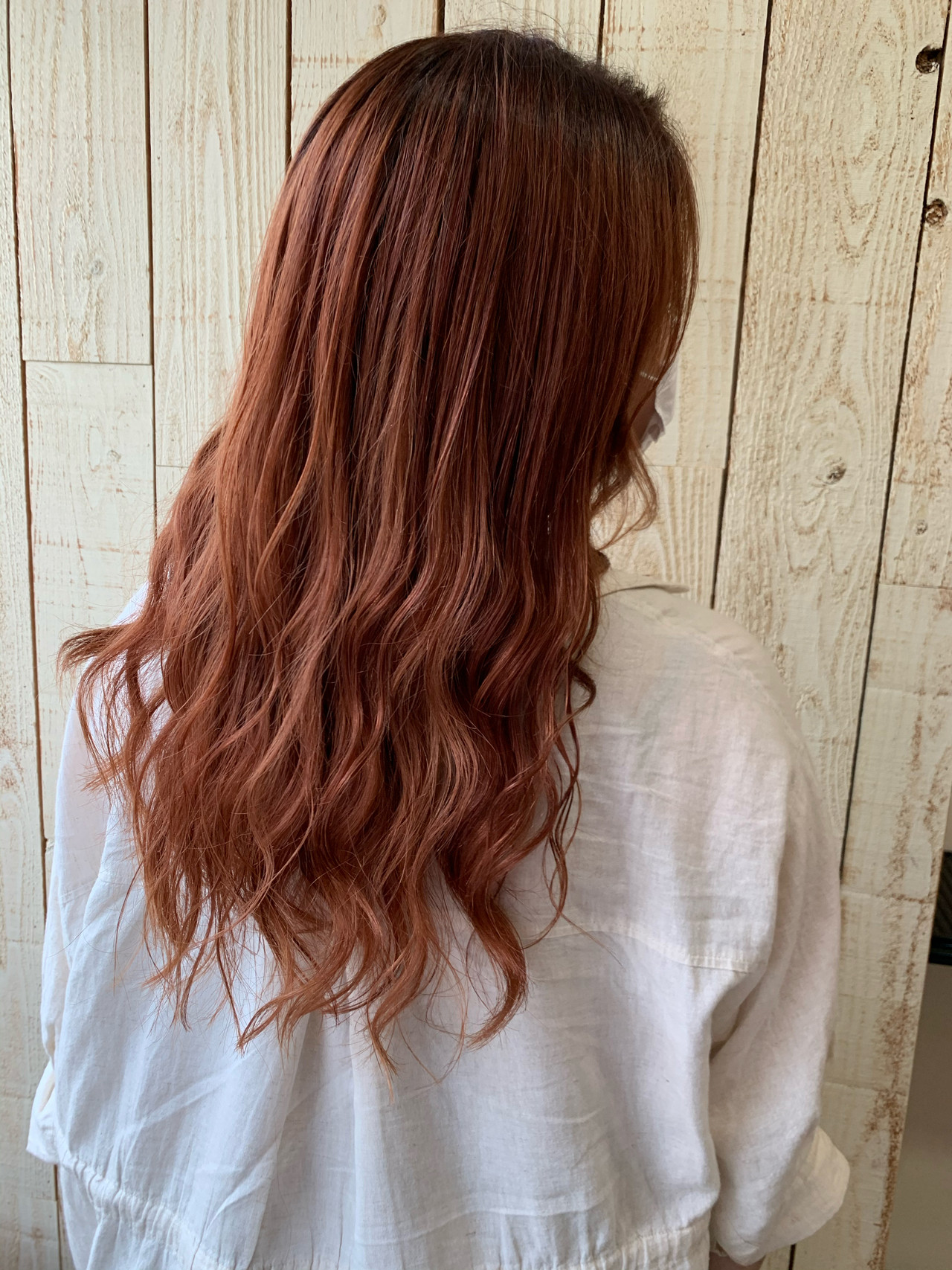 透明感カラー ダブルカラー オレンジベージュ ロング ヘアスタイルや髪型の写真・画像