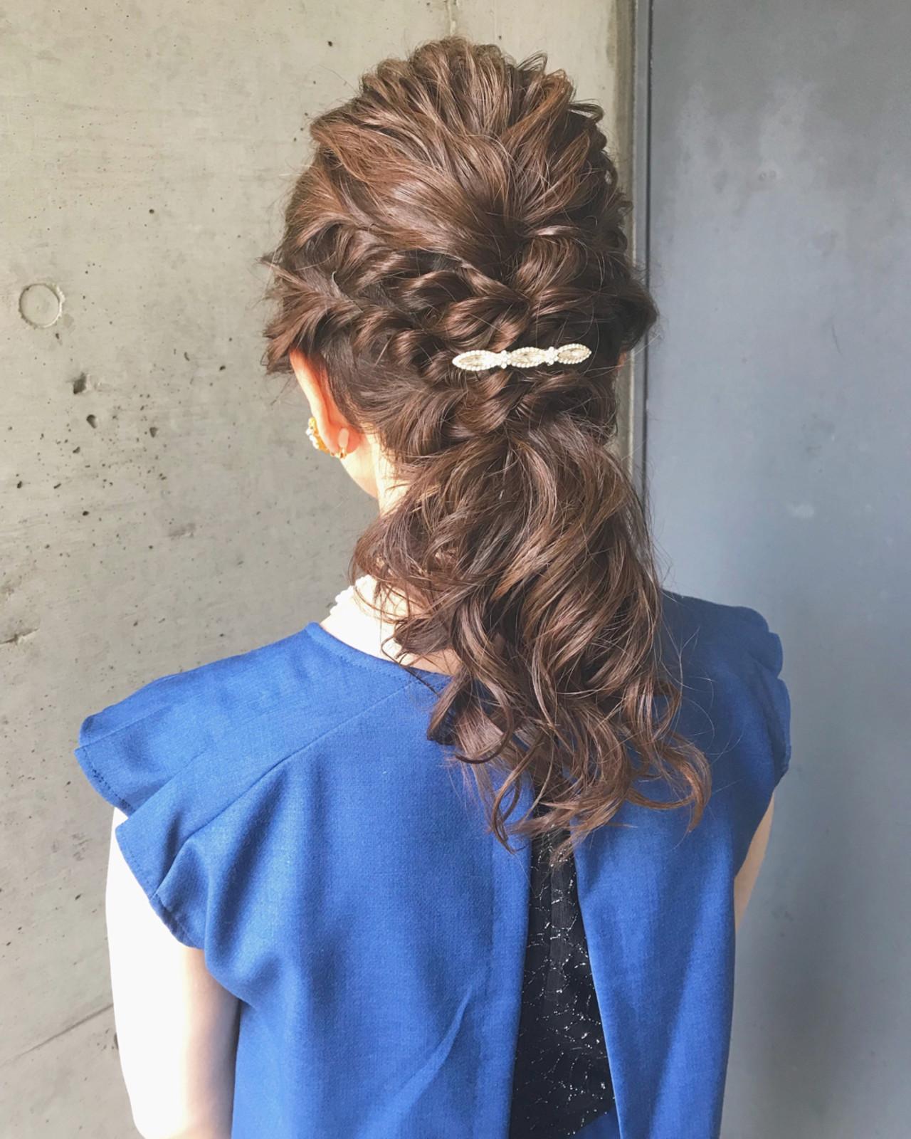 セミロング 編み込み ポニーテール 結婚式 ヘアスタイルや髪型の写真・画像   ♡ m i w a ♡schritt渋谷 / schritt (シュリット)渋谷