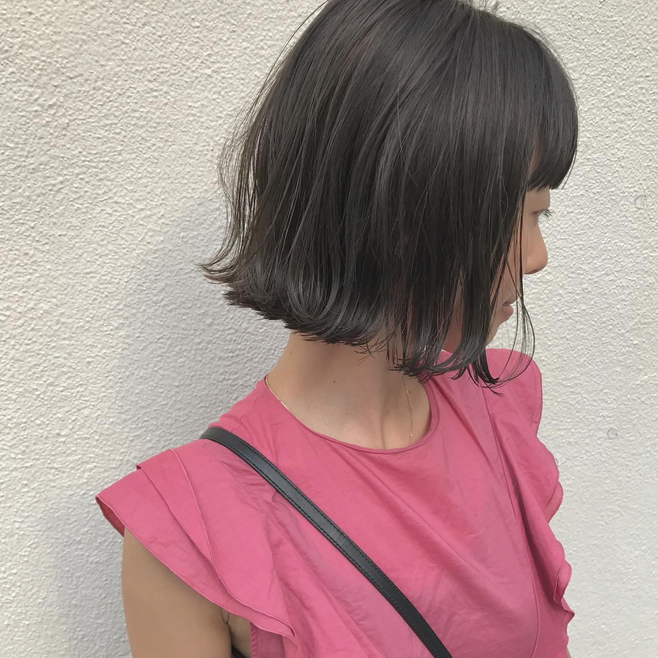 切りっぱなし 外ハネ ハイライト 秋ヘアスタイルや髪型の写真・画像