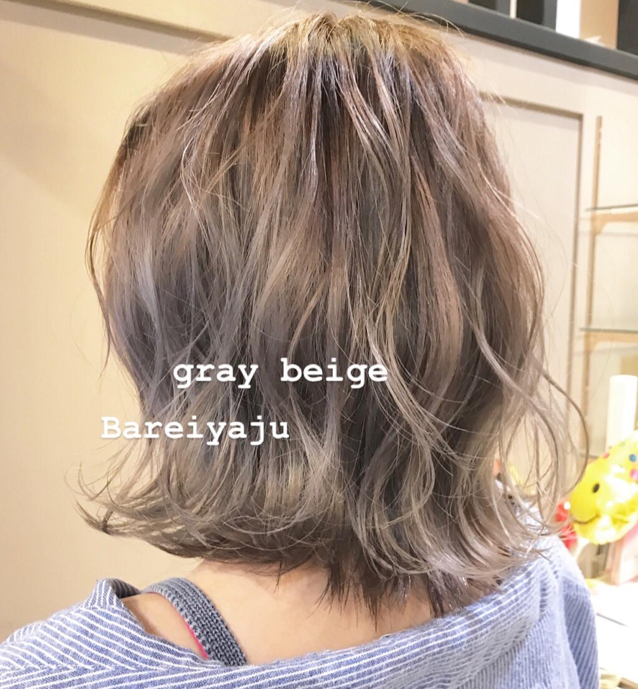 アッシュグレージュ ストリート ボブ バレイヤージュヘアスタイルや髪型の写真・画像