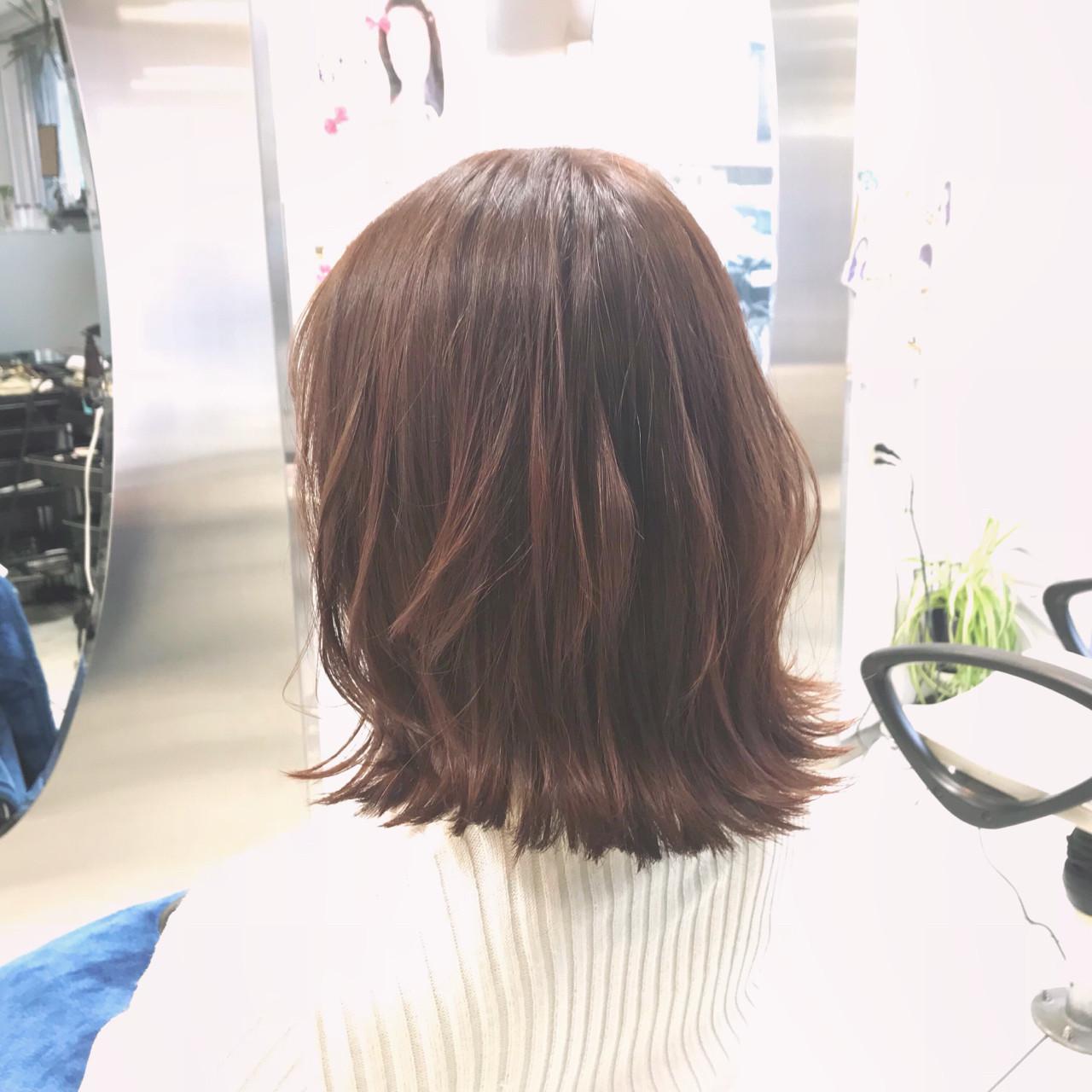 春 ミディアム 透明感 コーラル ヘアスタイルや髪型の写真・画像 | 村西 郁人 / rue