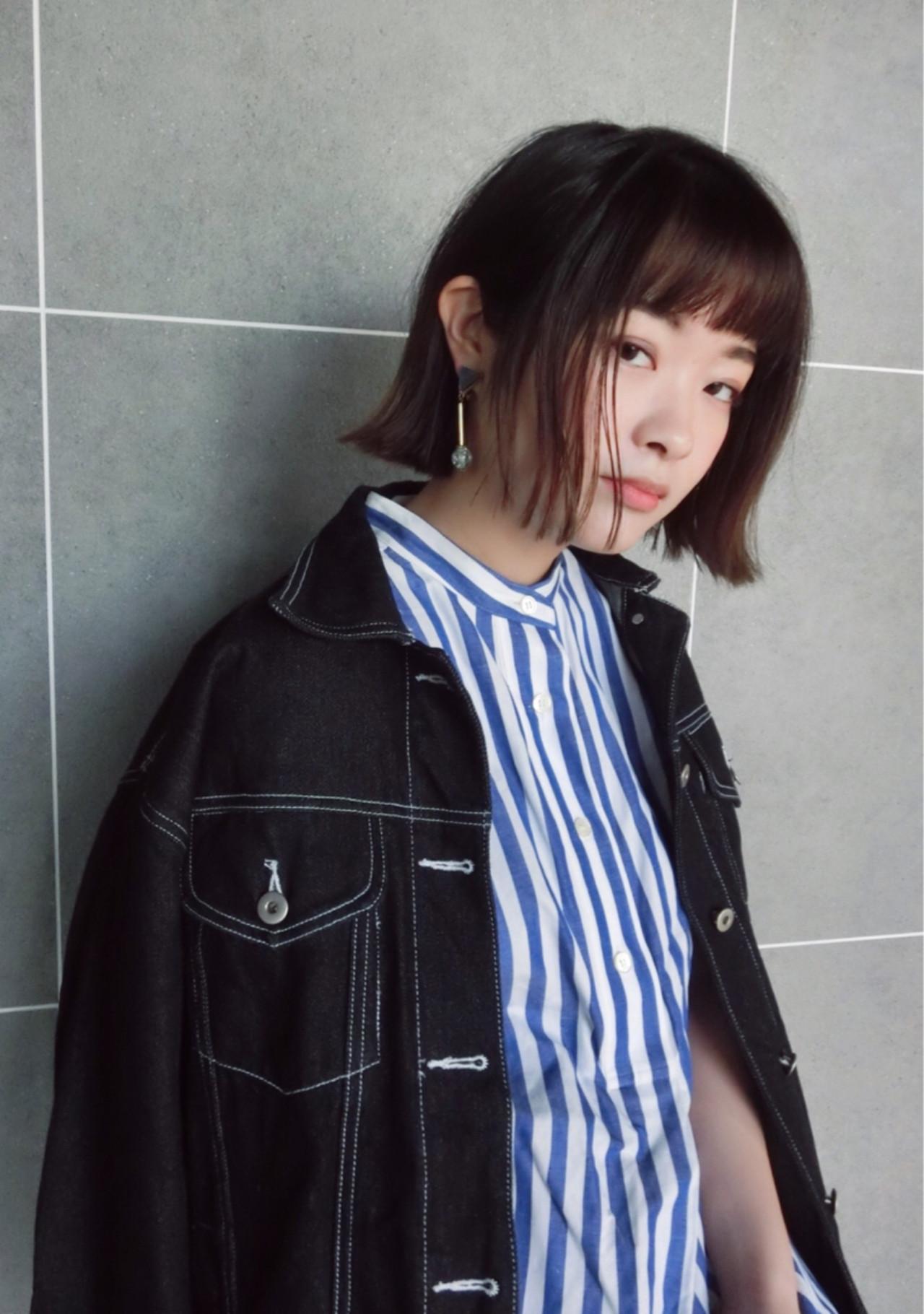 抜け感 ボブ オン眉 切りっぱなし ヘアスタイルや髪型の写真・画像   尾花 佑輔 / SHISEIDO PASSAGE BEAUTE' GINZA