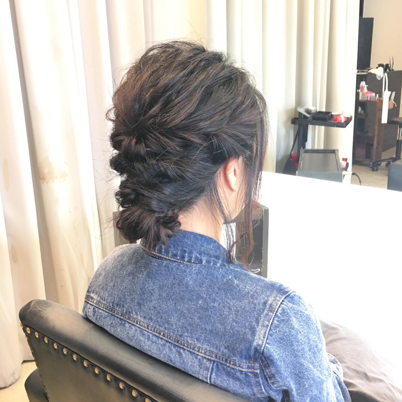 ショート 黒髪 ゆるふわ まとめ髪ヘアスタイルや髪型の写真・画像