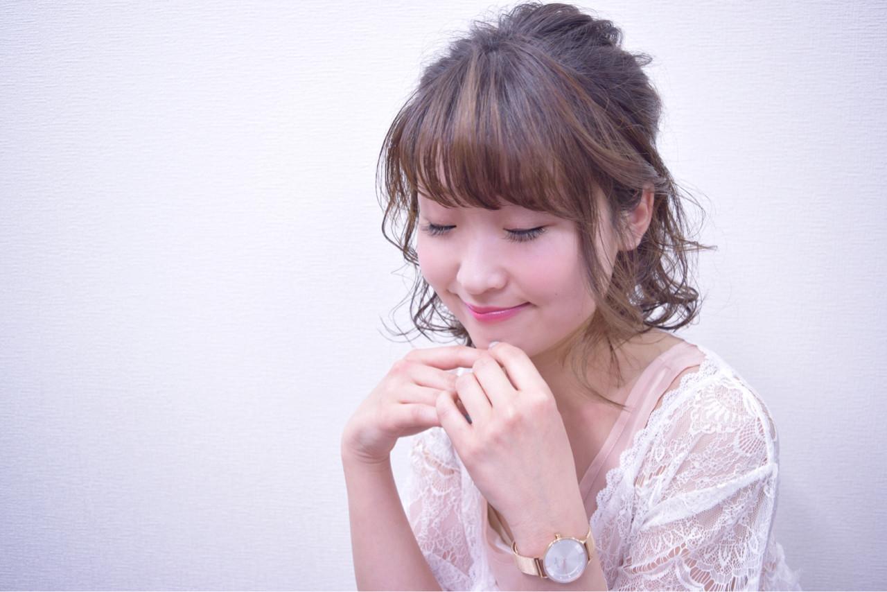 デート ボブ ハーフアップ ナチュラル ヘアスタイルや髪型の写真・画像 | hironao murakami / Eight渋谷本店