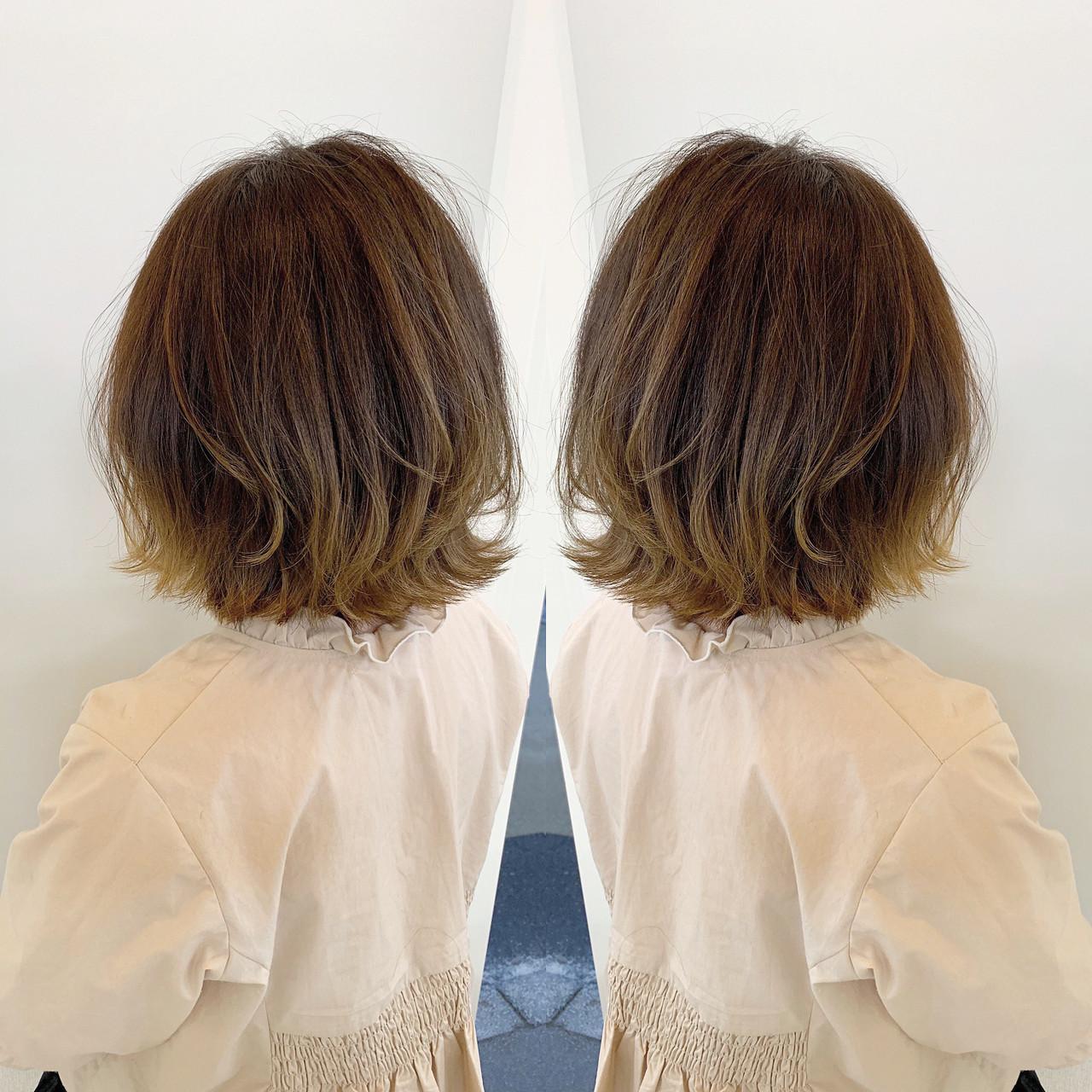 外国人風カラー 外ハネボブ デート ボブ ヘアスタイルや髪型の写真・画像 | 新谷 朋宏 / Free hairstylist shinya