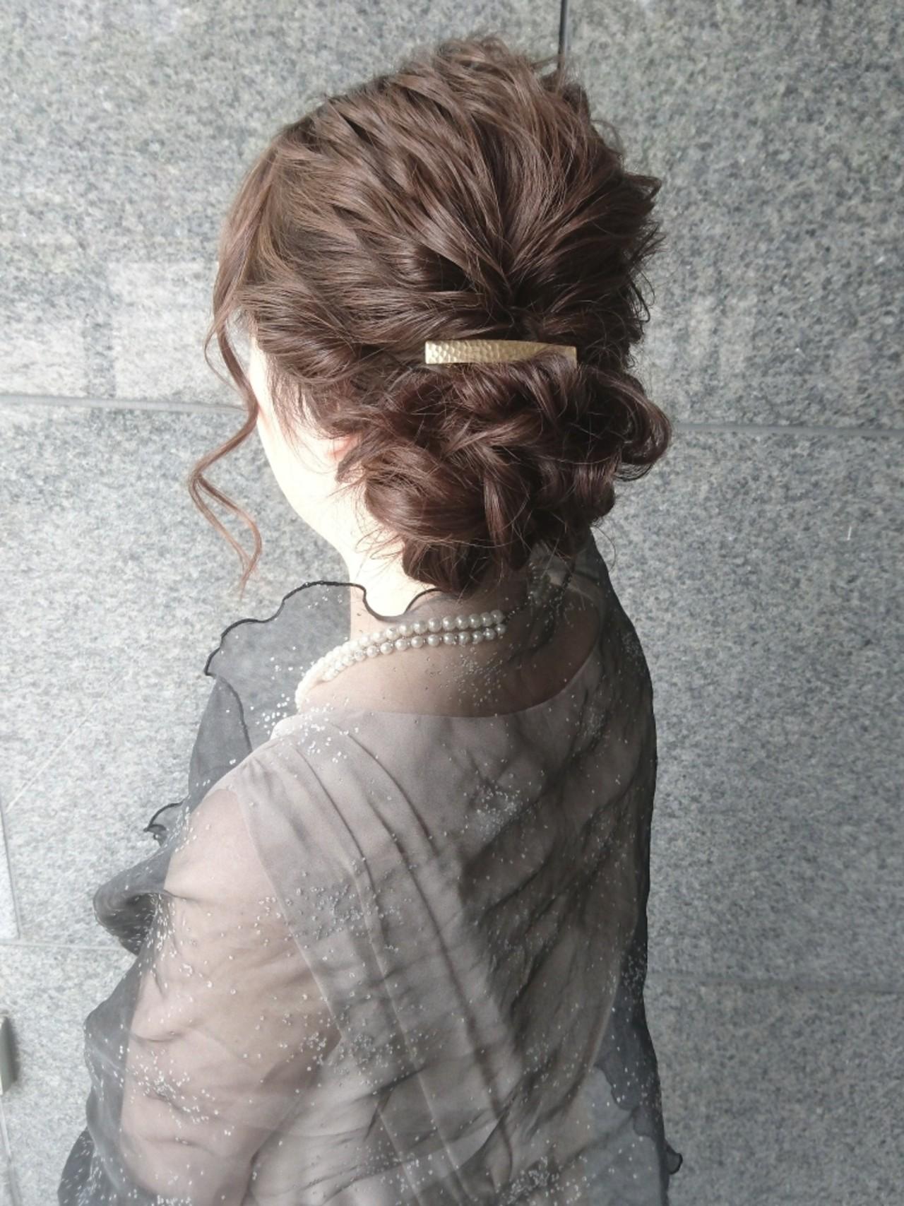 簡単ヘアアレンジ ショート セミロング エレガントヘアスタイルや髪型の写真・画像