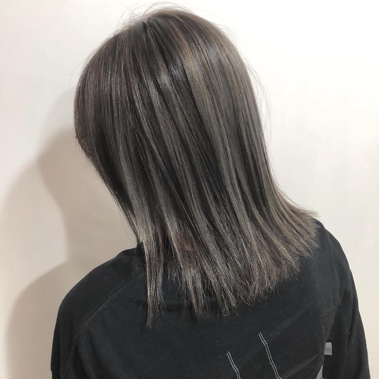 コンサバ コントラストハイライト ミディアム オシャレ ヘアスタイルや髪型の写真・画像 | 榎本旬祐 / hair stage jade