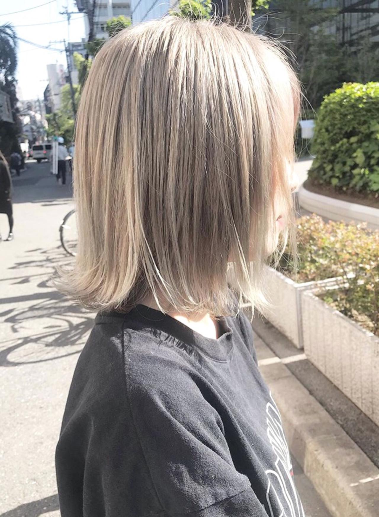 ボブ ミルクティー 透明感カラー 外国人風カラー ヘアスタイルや髪型の写真・画像 | yoshiki / chainon 梅田店