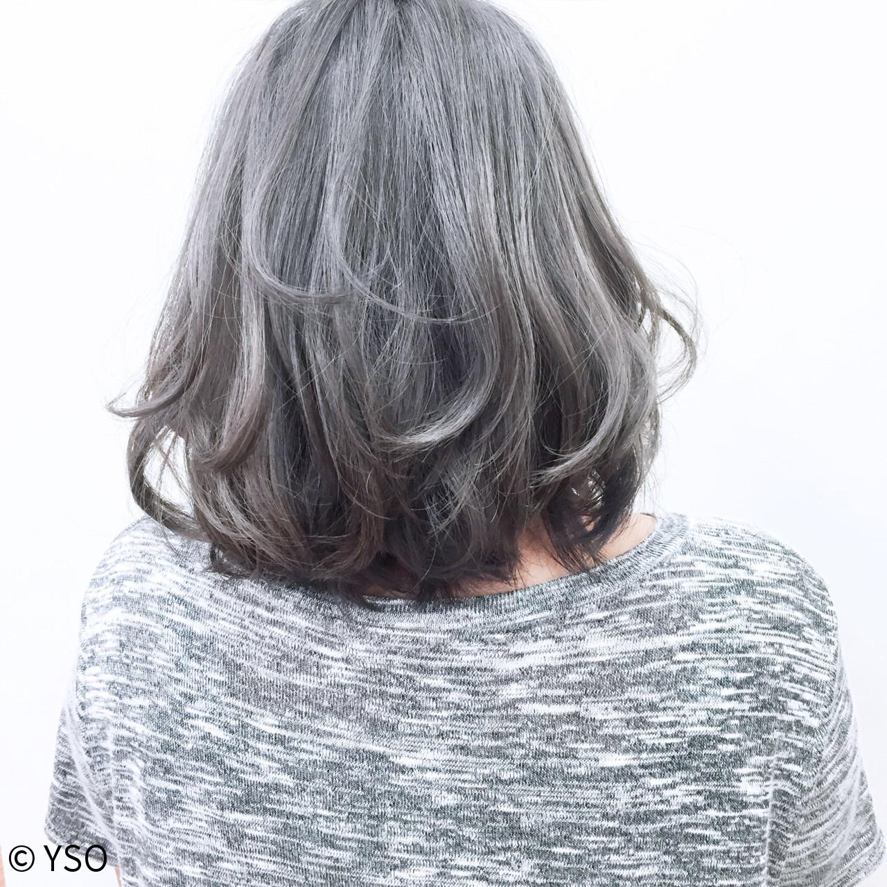 ハイライト ストリート グレー グラデーションカラー ヘアスタイルや髪型の写真・画像 | YSO / 電髪倶楽部street
