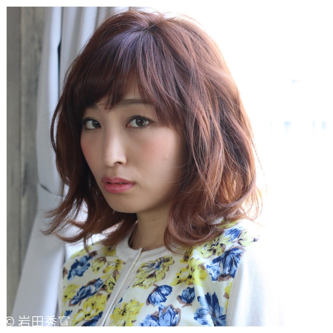 外ハネ ストリート 大人女子 ミディアム ヘアスタイルや髪型の写真・画像 | 岩田秀宣 / coma