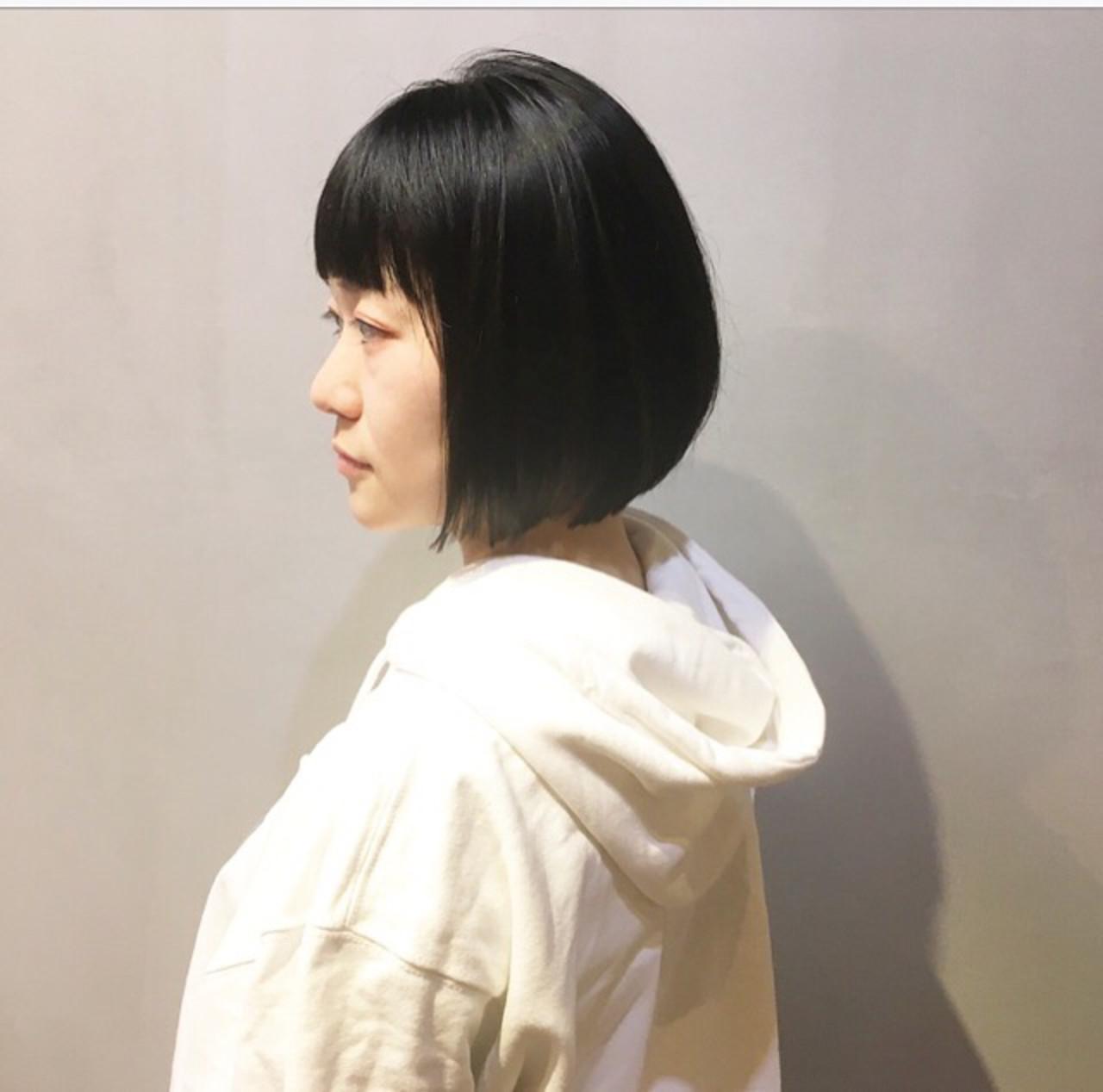 ショートボブ ボブ ナチュラル ミニボブ ヘアスタイルや髪型の写真・画像 | COM PASS 太一 / COM PASS