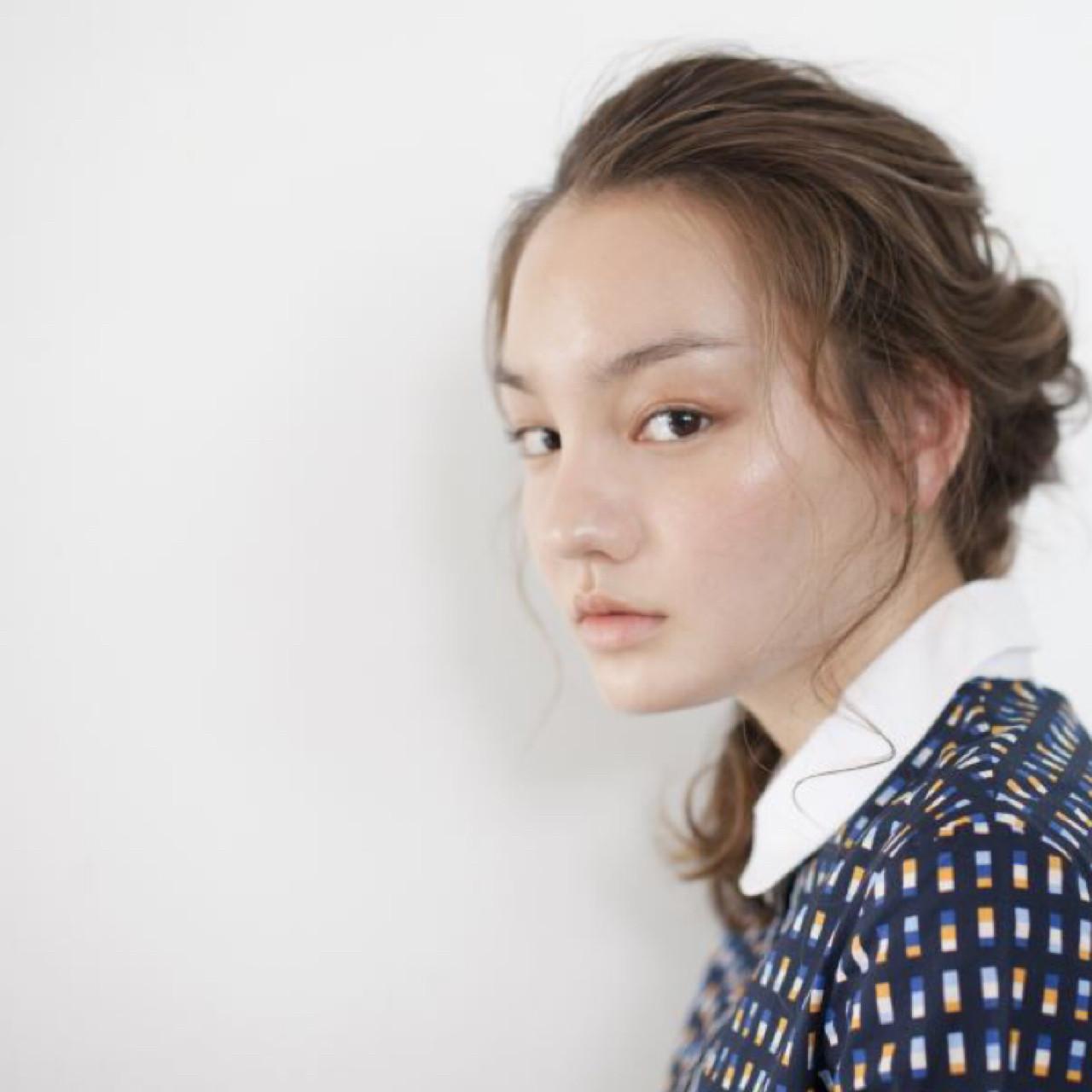簡単ヘアアレンジ 編み込み ヘアアレンジ セミロングヘアスタイルや髪型の写真・画像