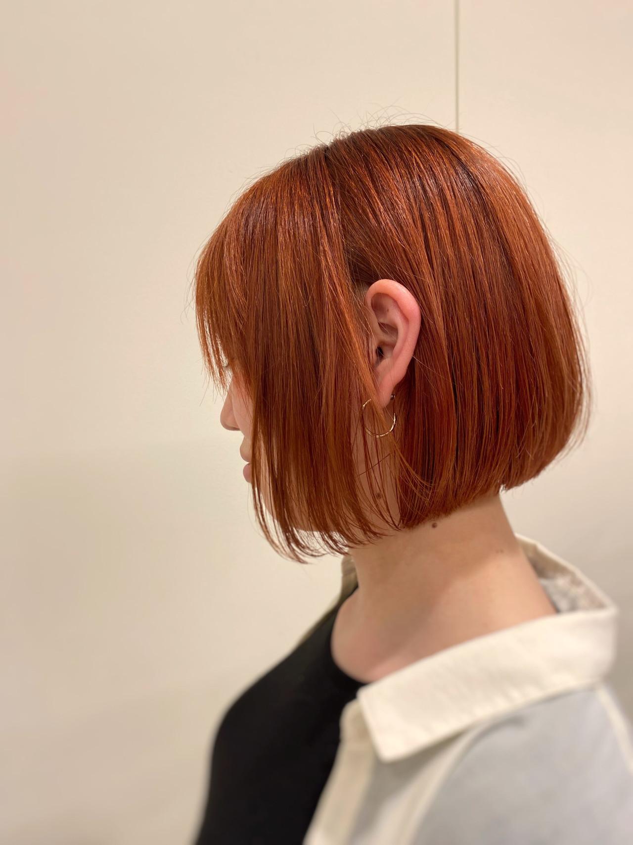 ハイトーン ガーリー オレンジカラー ボブ ヘアスタイルや髪型の写真・画像 | 寺本 由樹 / モリオフロムロンドン大宮店